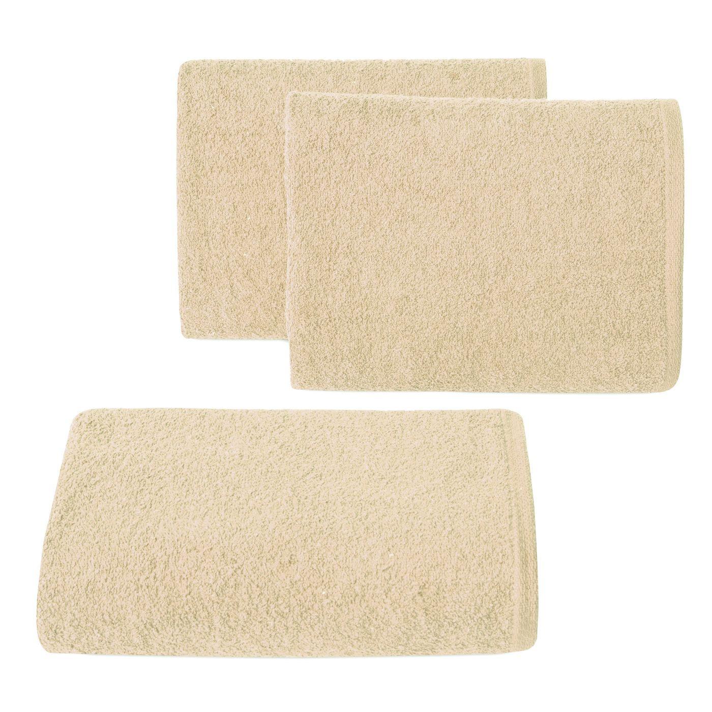 Gładki ręcznik kąpielowy beżowy 70x140 cm