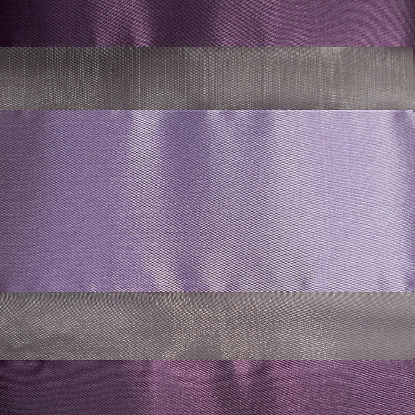 Zasłona poziome atłasowe pasy+organza odcienie fioletu przelotki 140x250cm