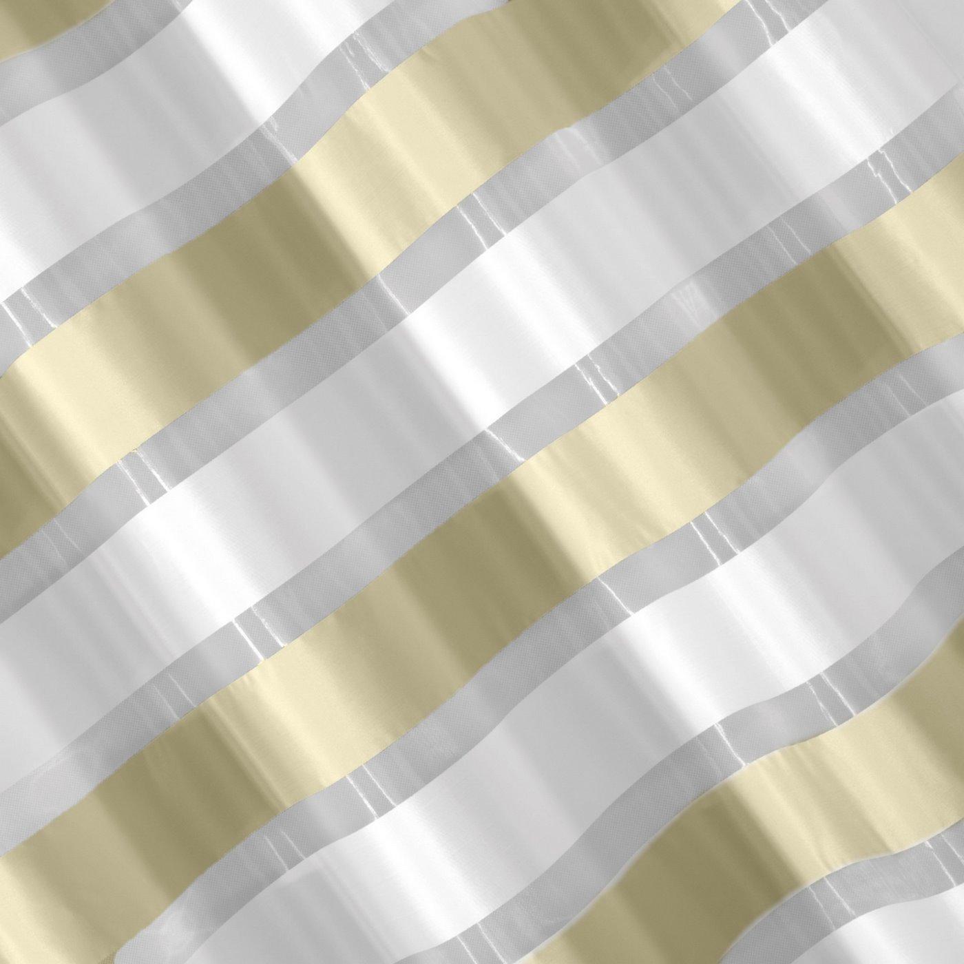 Zasłona poziome atłasowe pasy+organza kremowy+biały przelotki 140x250cm