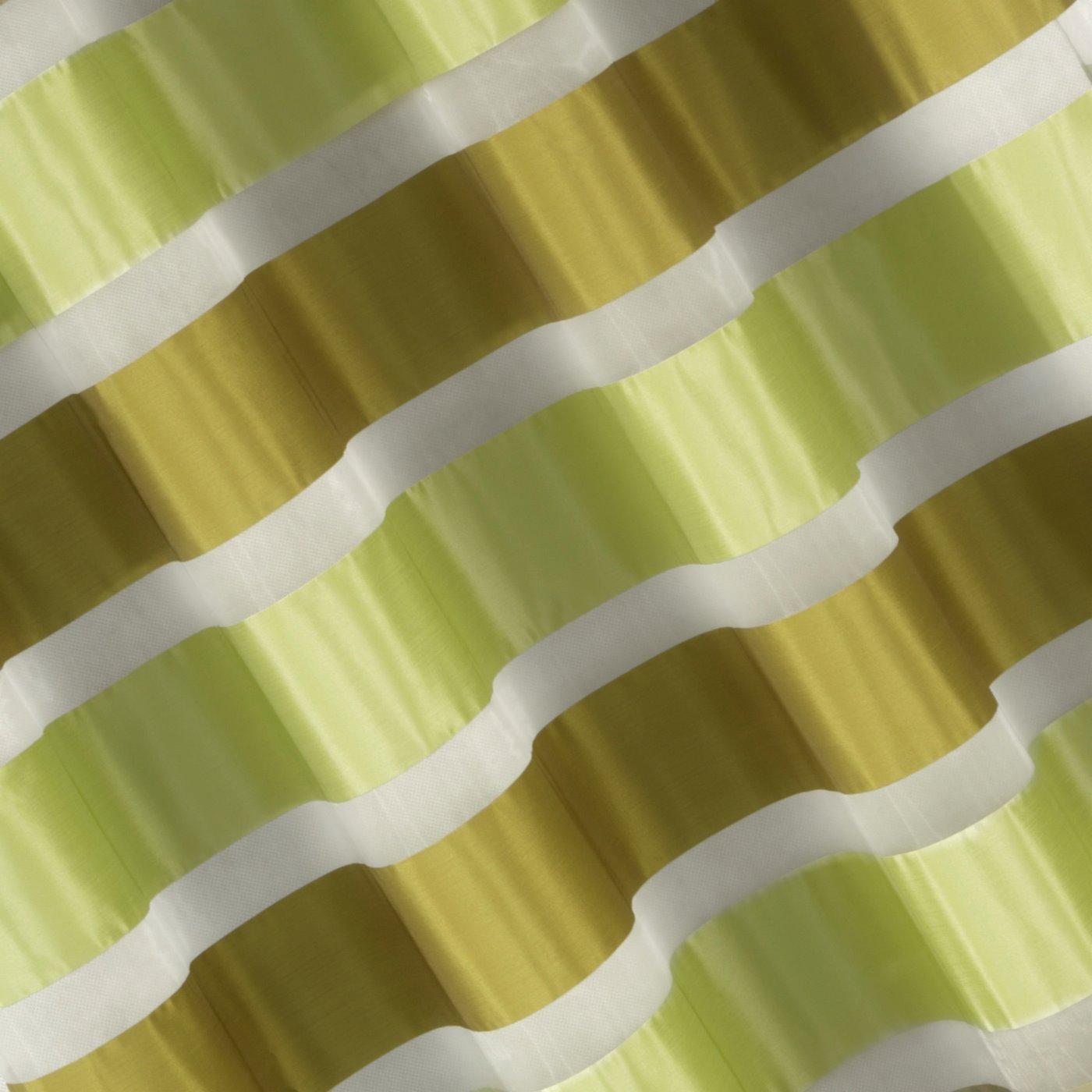 Zasłona poziome atłasowe pasy+organza odcienie zieleni przelotki 140x250cm