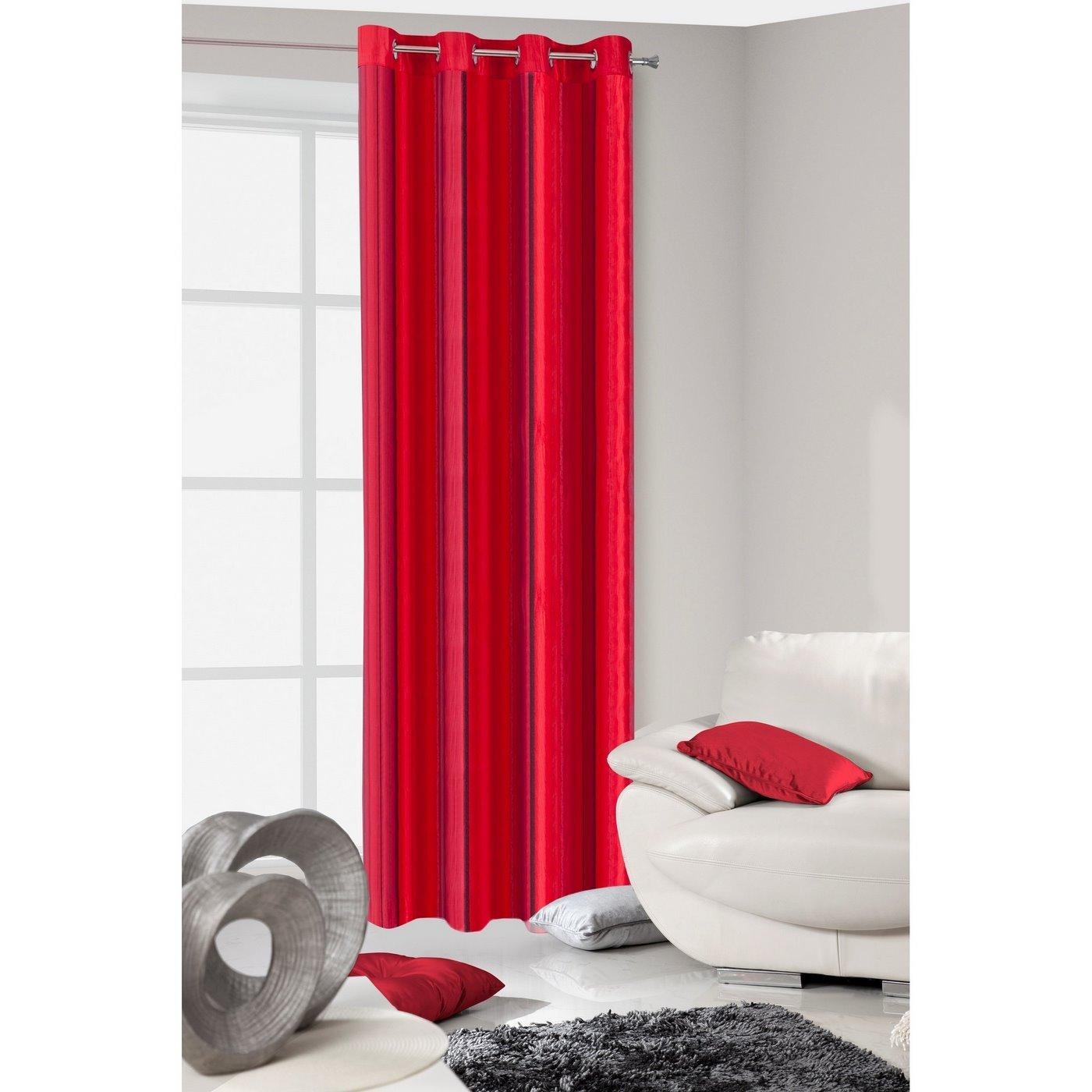 Oryginalna czerwona dwuwarstwowa zasłona na przelotkach