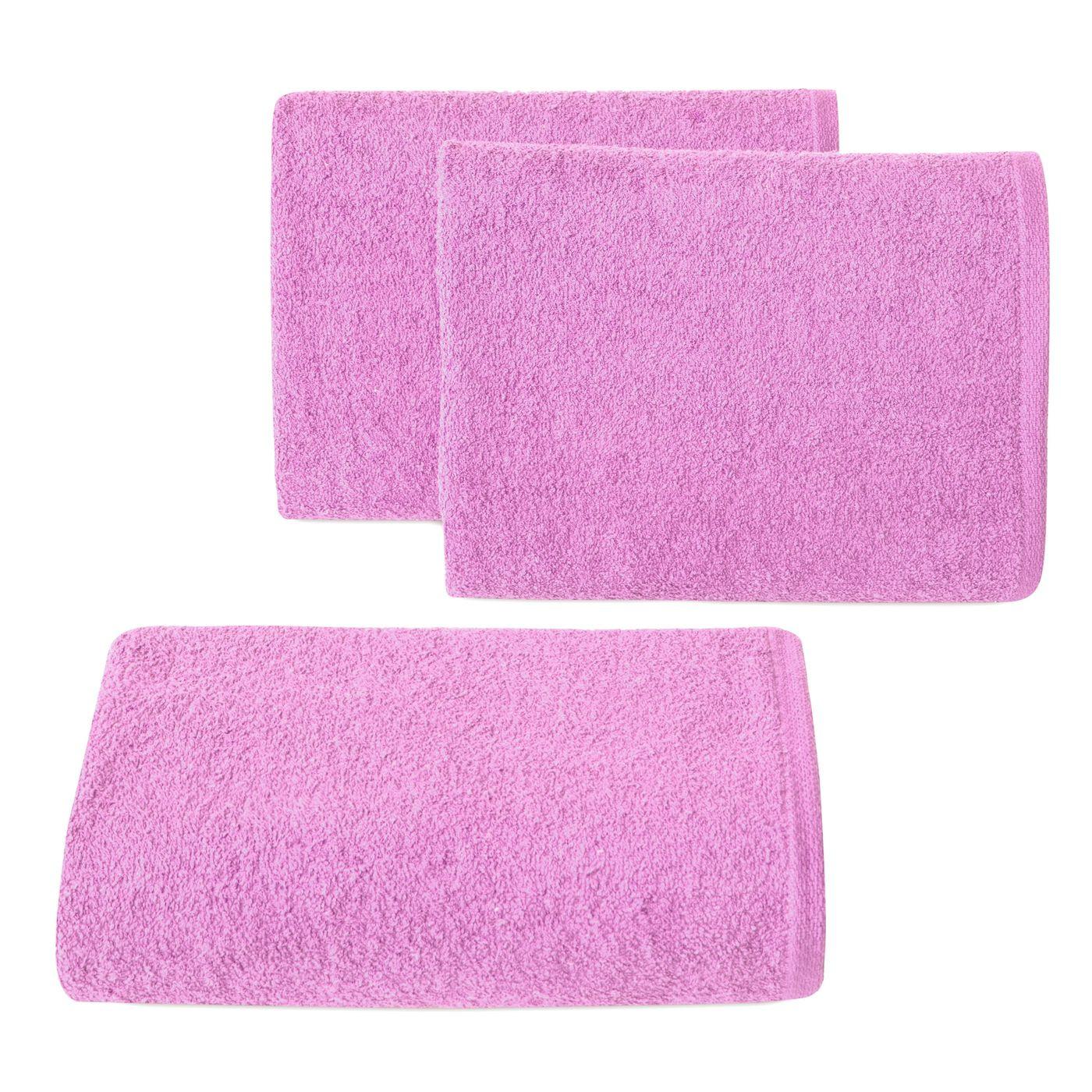 Ręcznik z bawełny gładki różowy 50x90cm