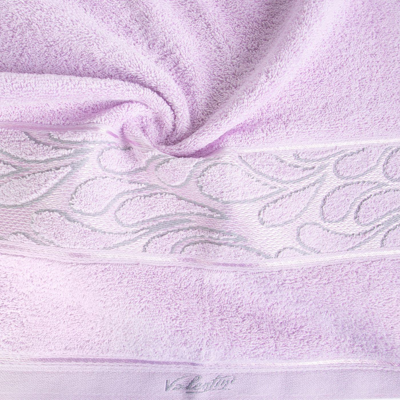 Ręcznik ozdobna bordiura wrzosowy 70x140cm