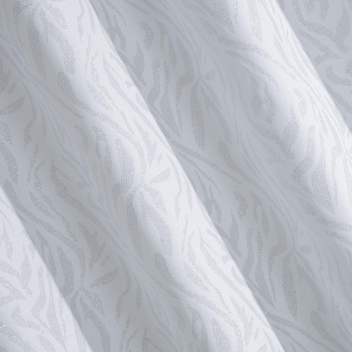 Zasłona biała z brokatowym wzorem 140x250 cm przelotki
