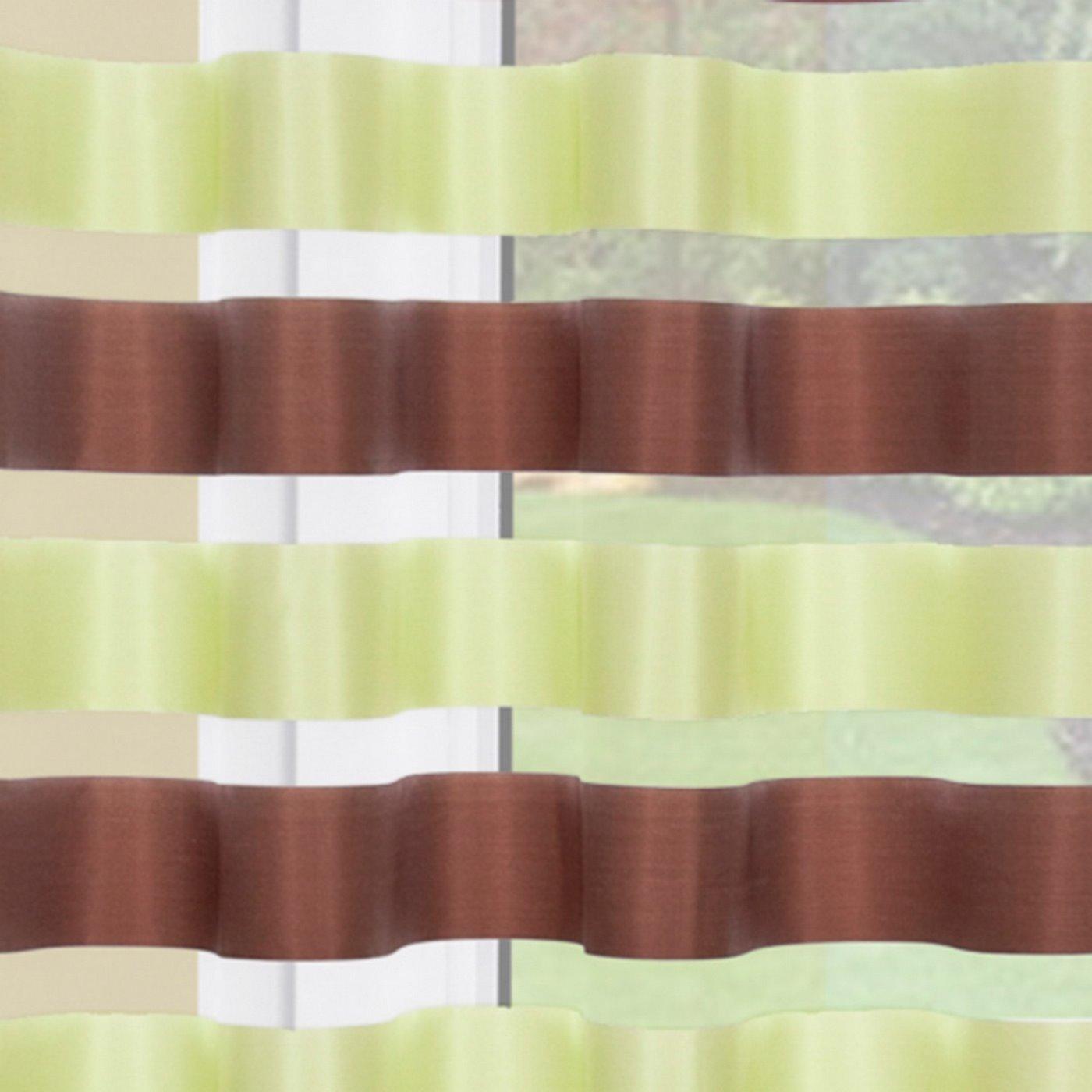 Zasłona Poziome Atłasowe Pasy Organza Zielony Brązowy Przelotki 140X250Cm