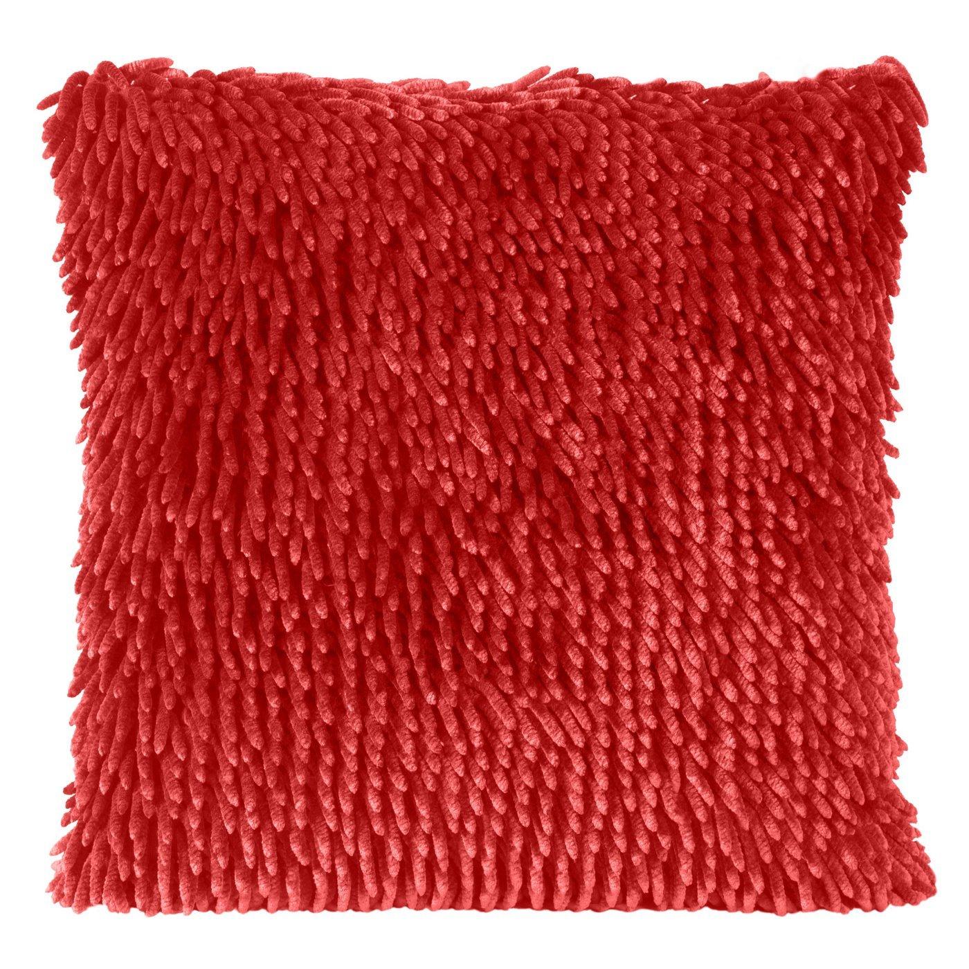 Czerwona POSZEWKA OZDOBNA shaggy 40x40 cm