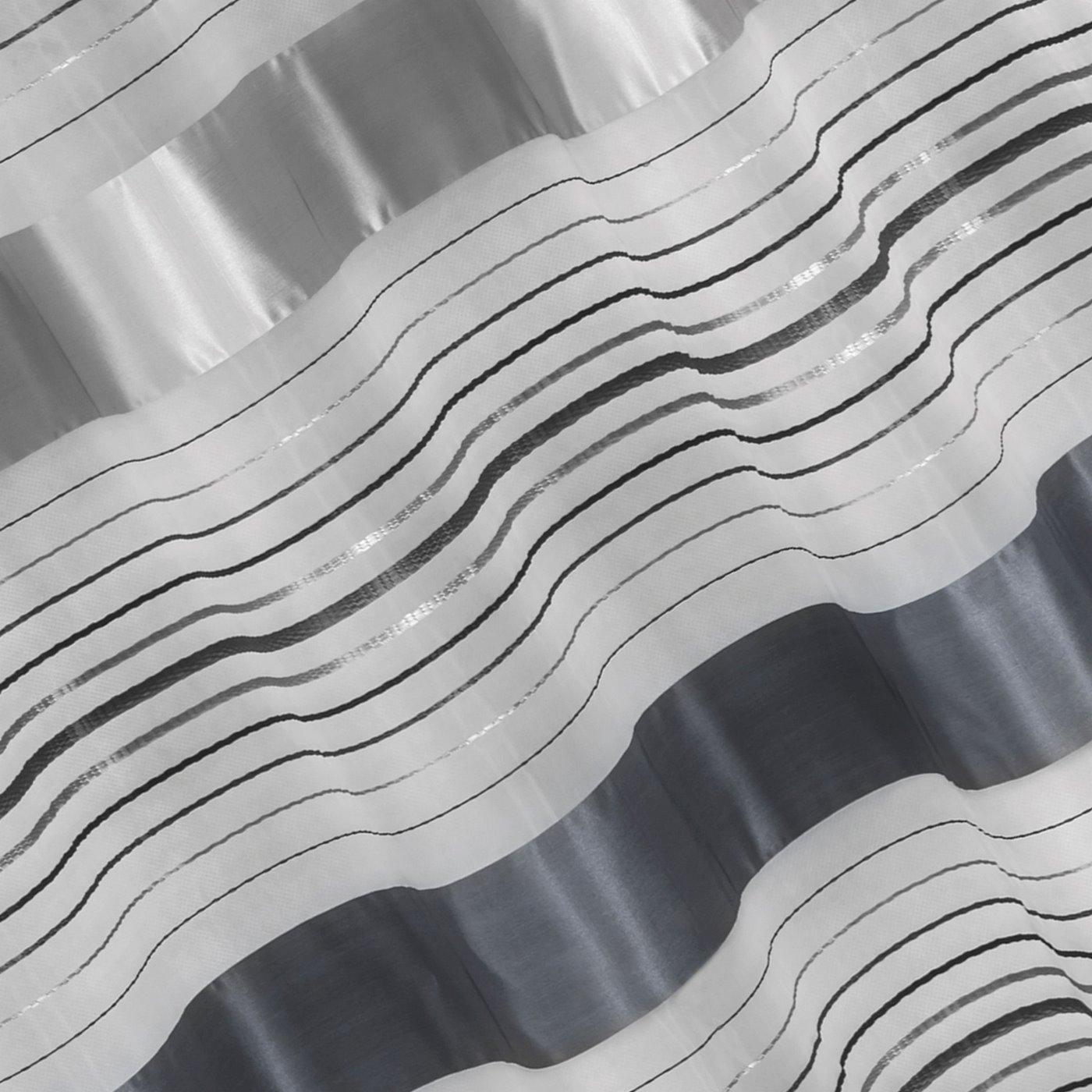 Zasłona w poziome srebrne pasy organza+atłas przelotki 140x250cm