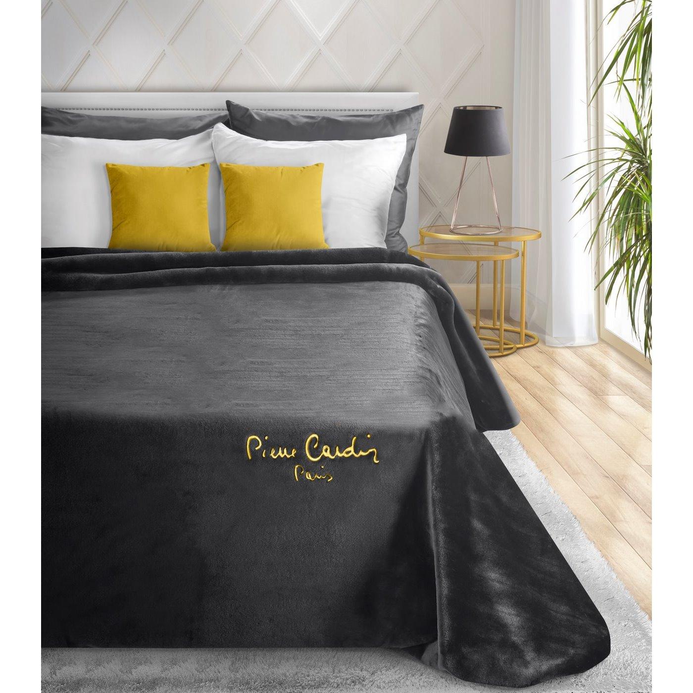 Czarny EKSKLUZYWNY KOC Clara od PIERRE CARDIN 220x240 cm z akrylem