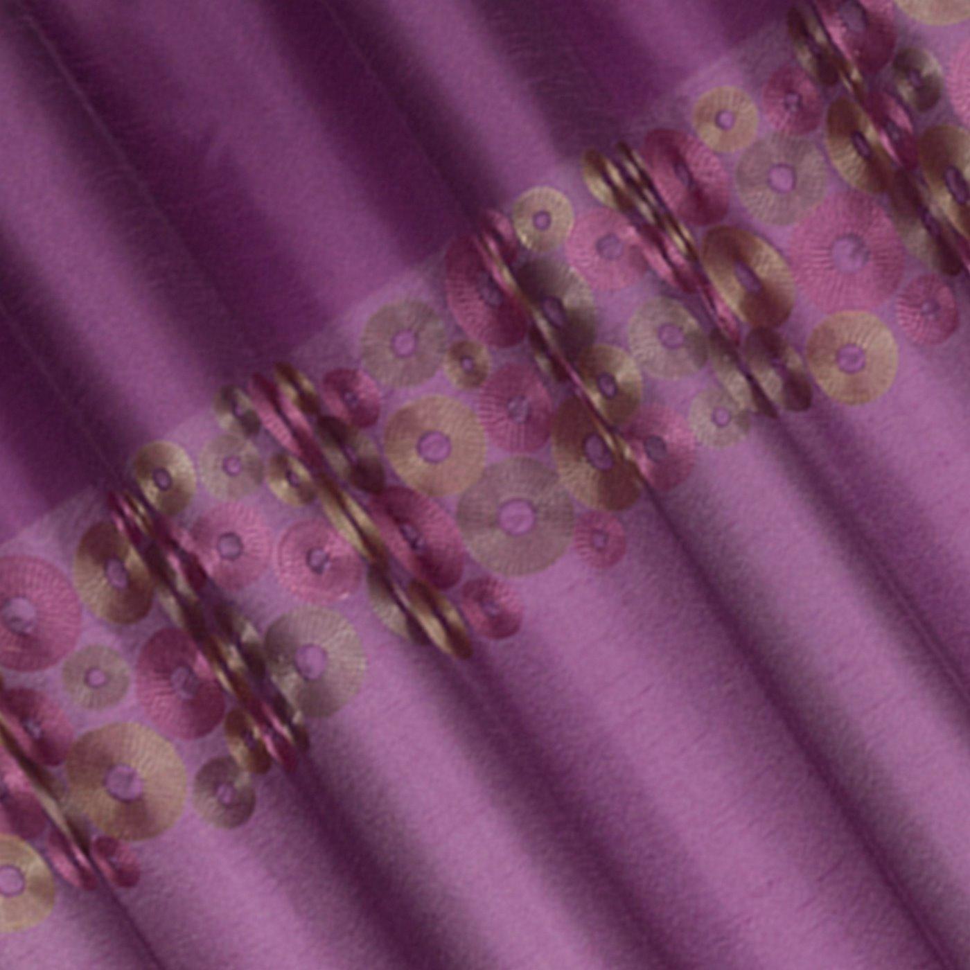 Śliwkowa zasłona z pasem haftowanych kółek 140x250 przelotki