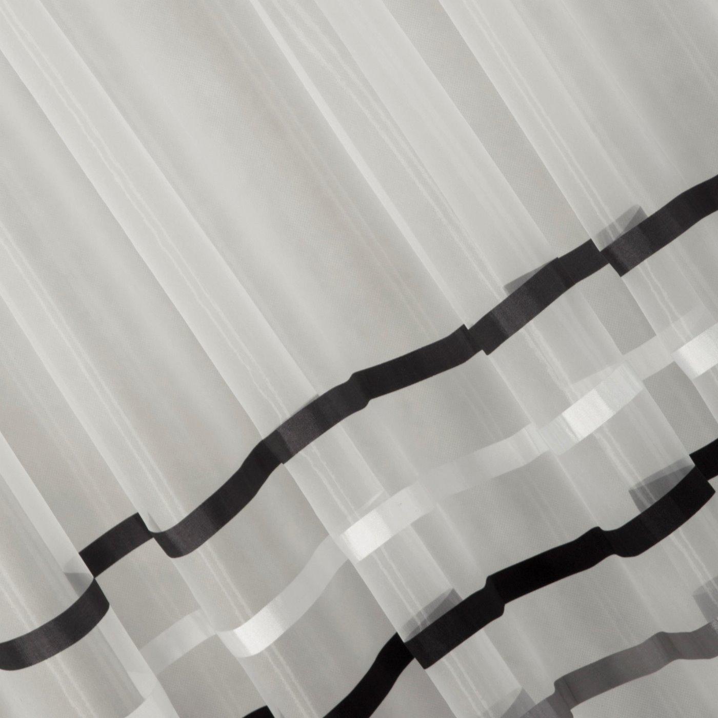 Zwiewna firanka paski grafitowe i kremowe 140x250 przelotki