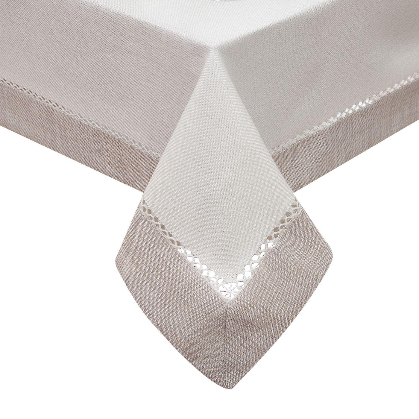 Obrus z mereżką biało - srebrny 140 x 200 cm
