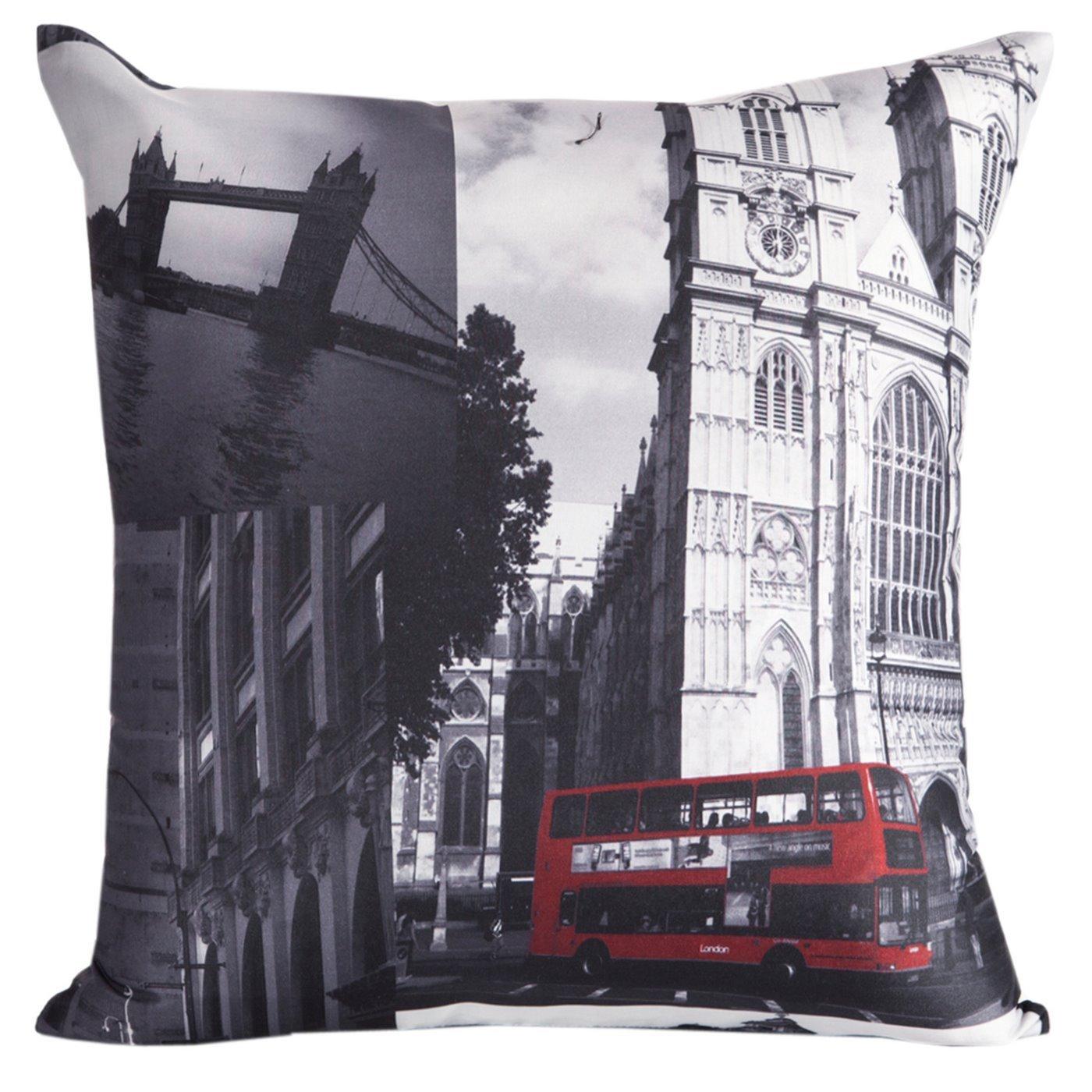 Poszewka na poduszkę 40 x 40 cm londyn szara czerwona