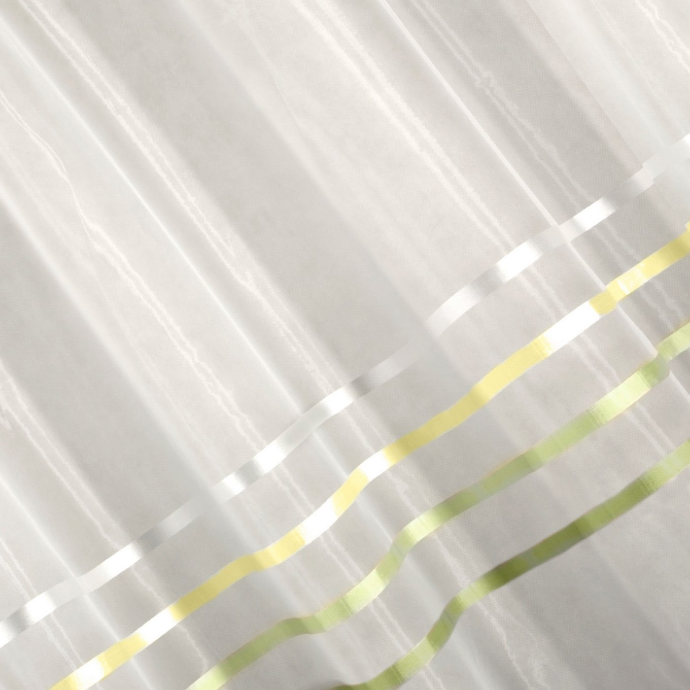 Zwiewna firanka paski kremowe i zielone 295x250 na taśmie