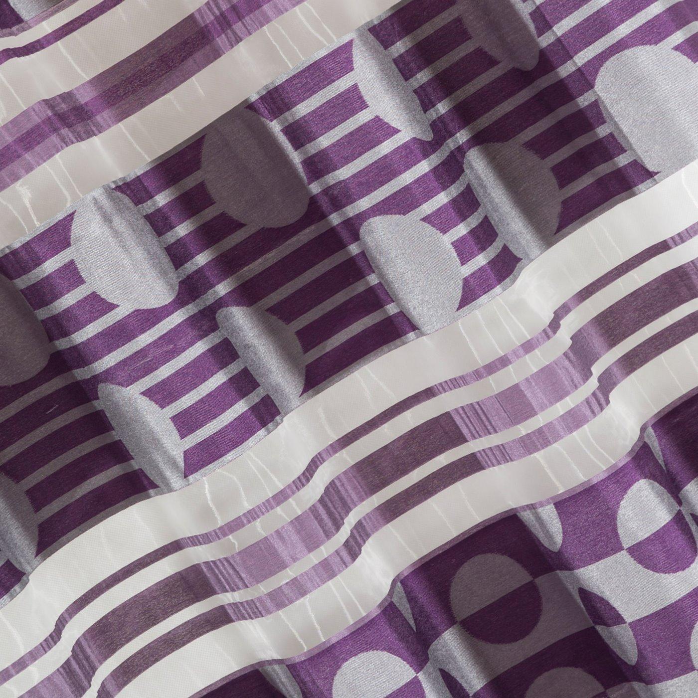 Zasłona poziome pasy wzorzysta przelotki fiolet 140x250cm
