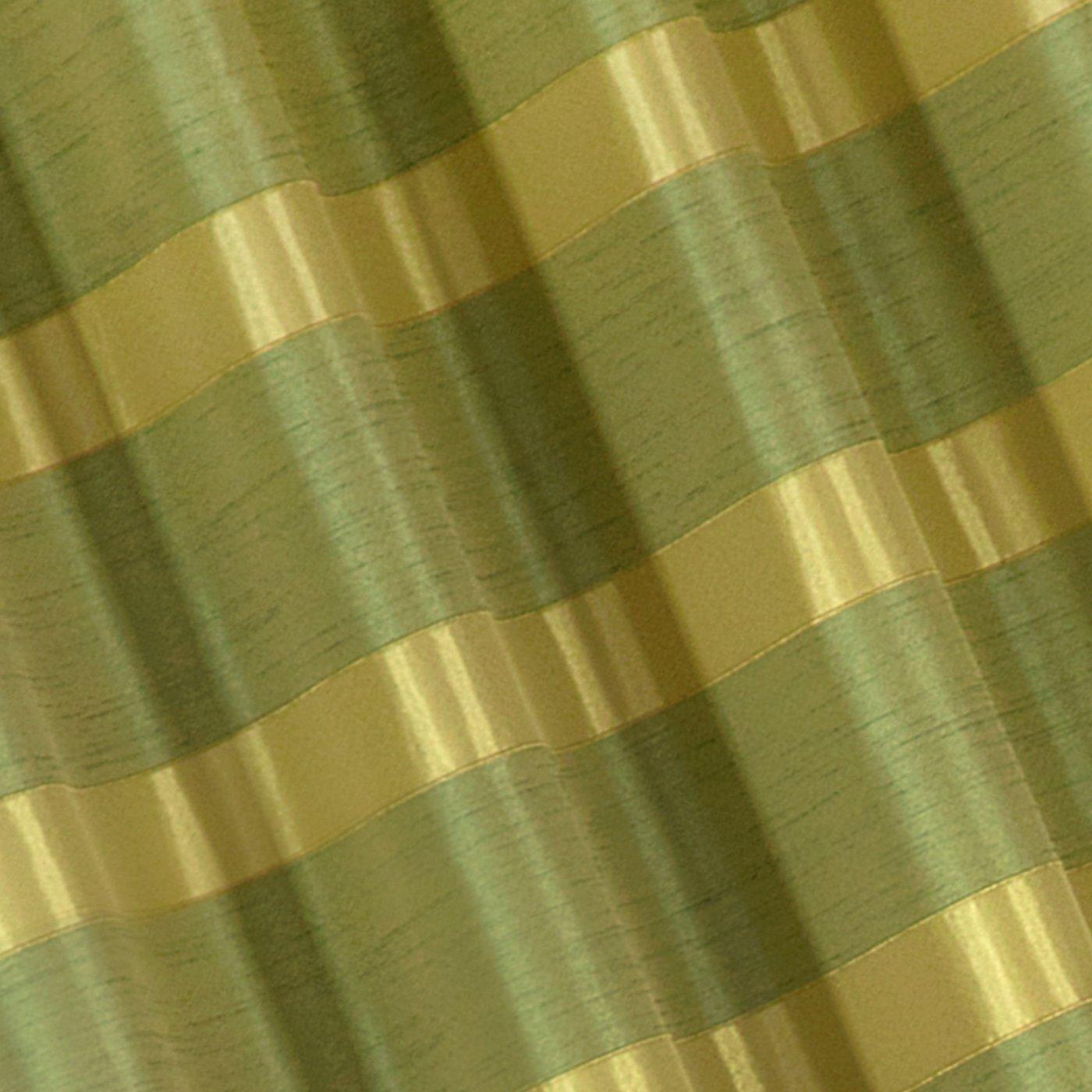 Zasłona w poziome pasy z połyskiem zielona 140x250cm