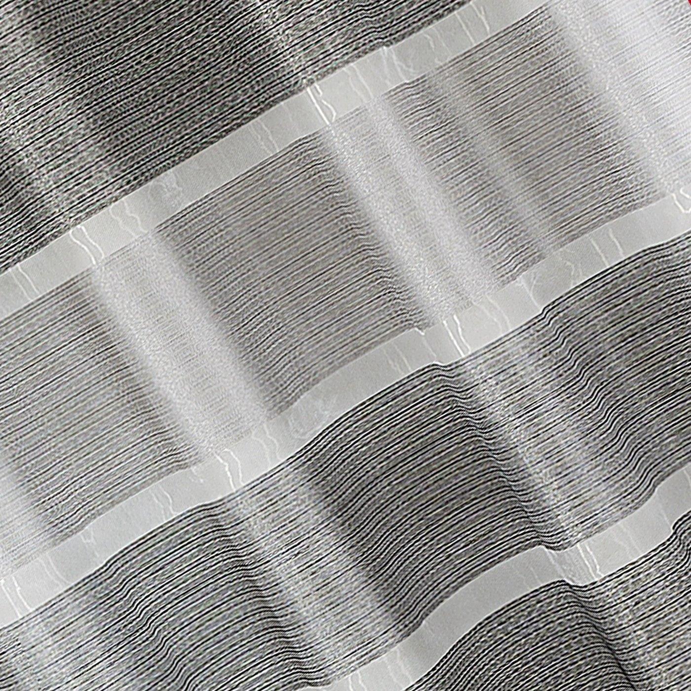 Zasłona w szerokie poziome pasy organza+atłas grafit przelotki 140x300cm
