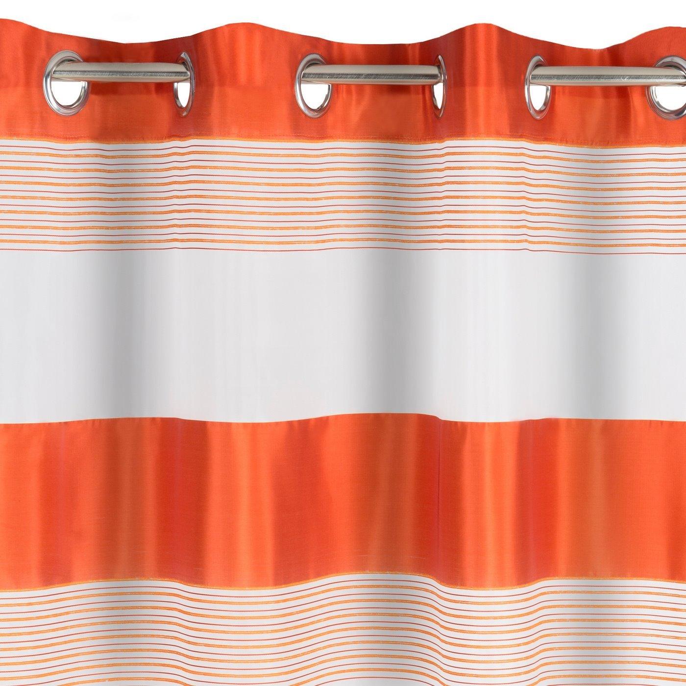 Zasłona w poziome pasy organza+satyna pomarańczowa przelotki 140x250cm