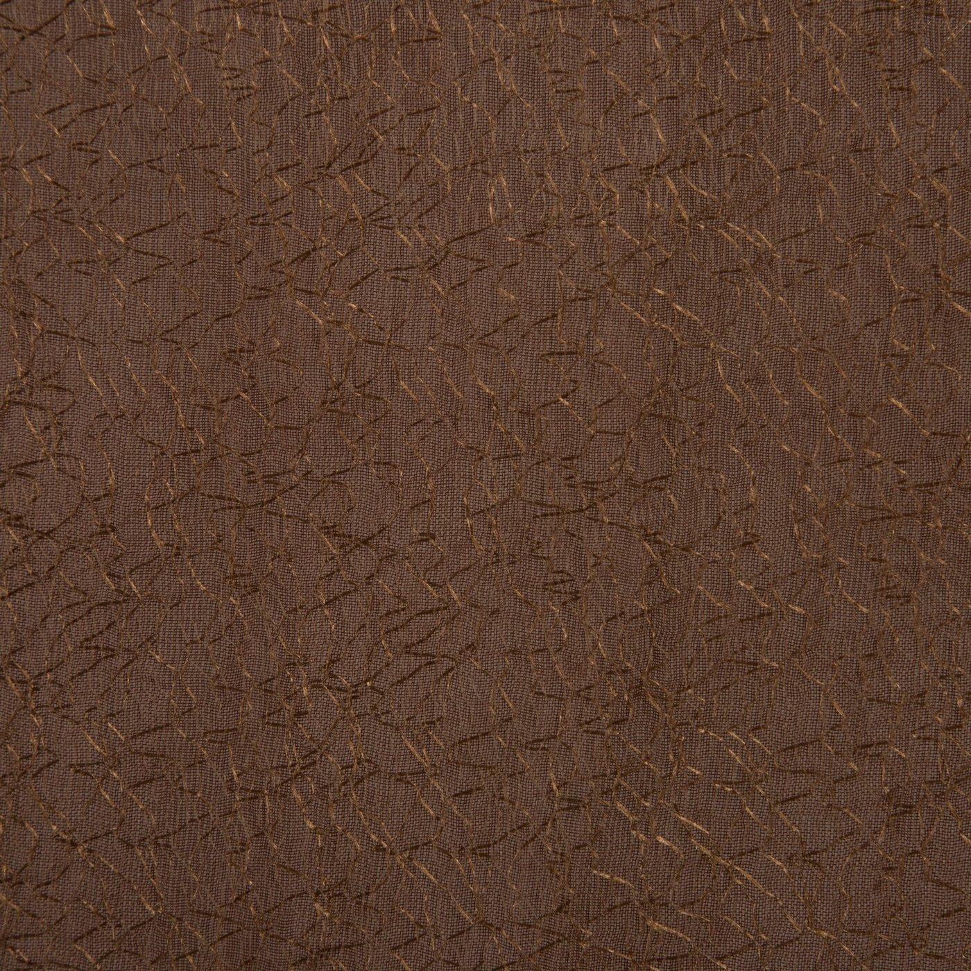 Zasłona dwuwarstwowa z delikatną siatką brązowa przelotki  135x300cm