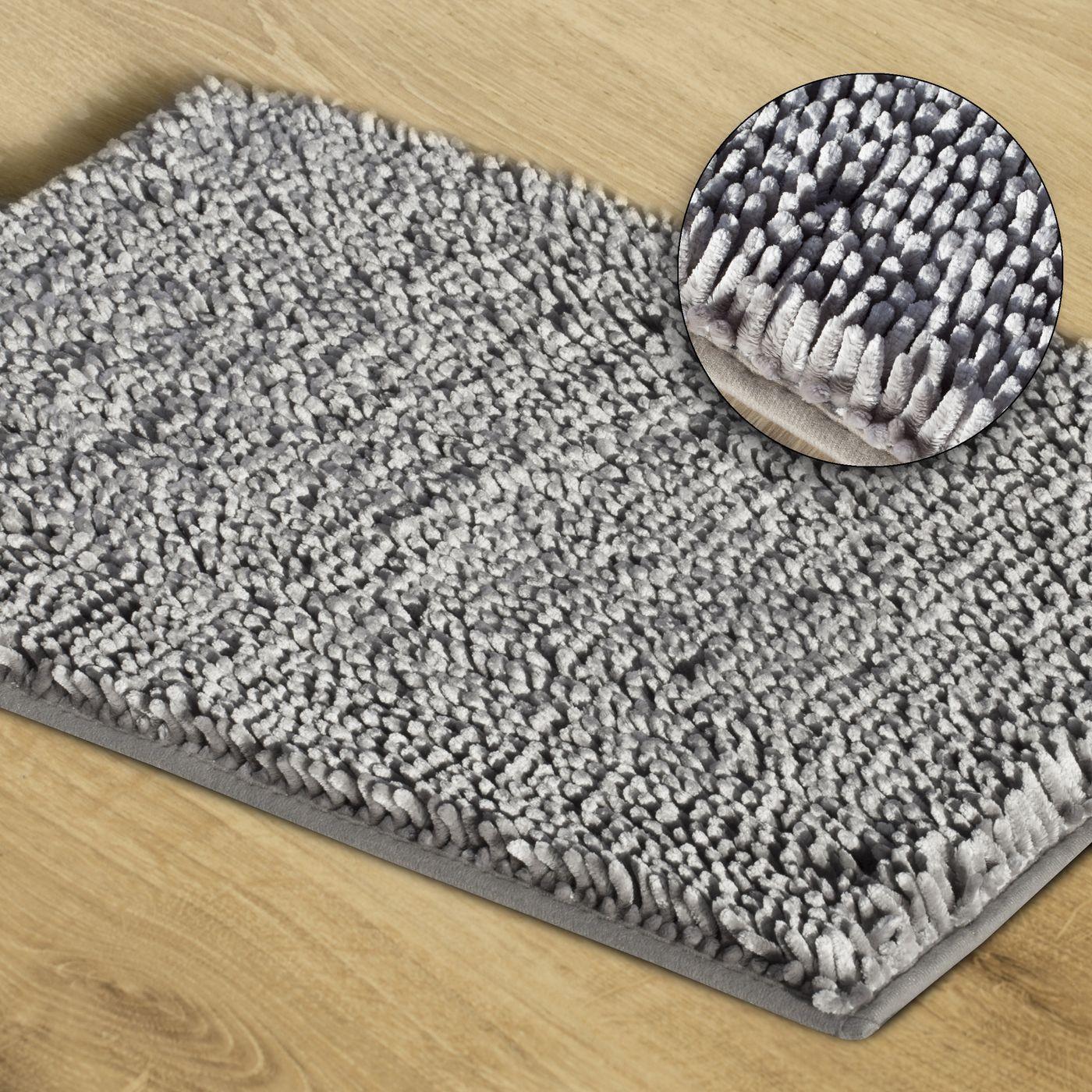 Srebrny dywan shaggy łazienkowy 50x70 cm