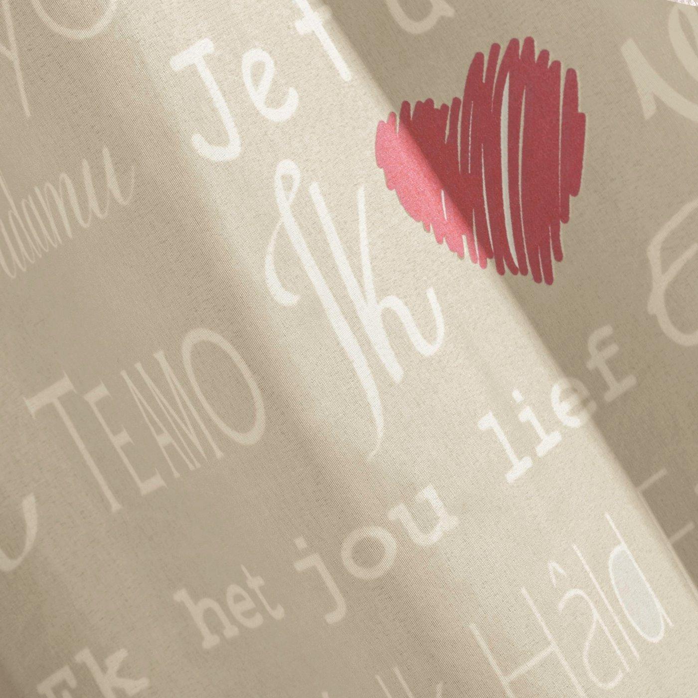 Zasłona beżowa nadrukowane serca i napisy 140x250 cm przelotki