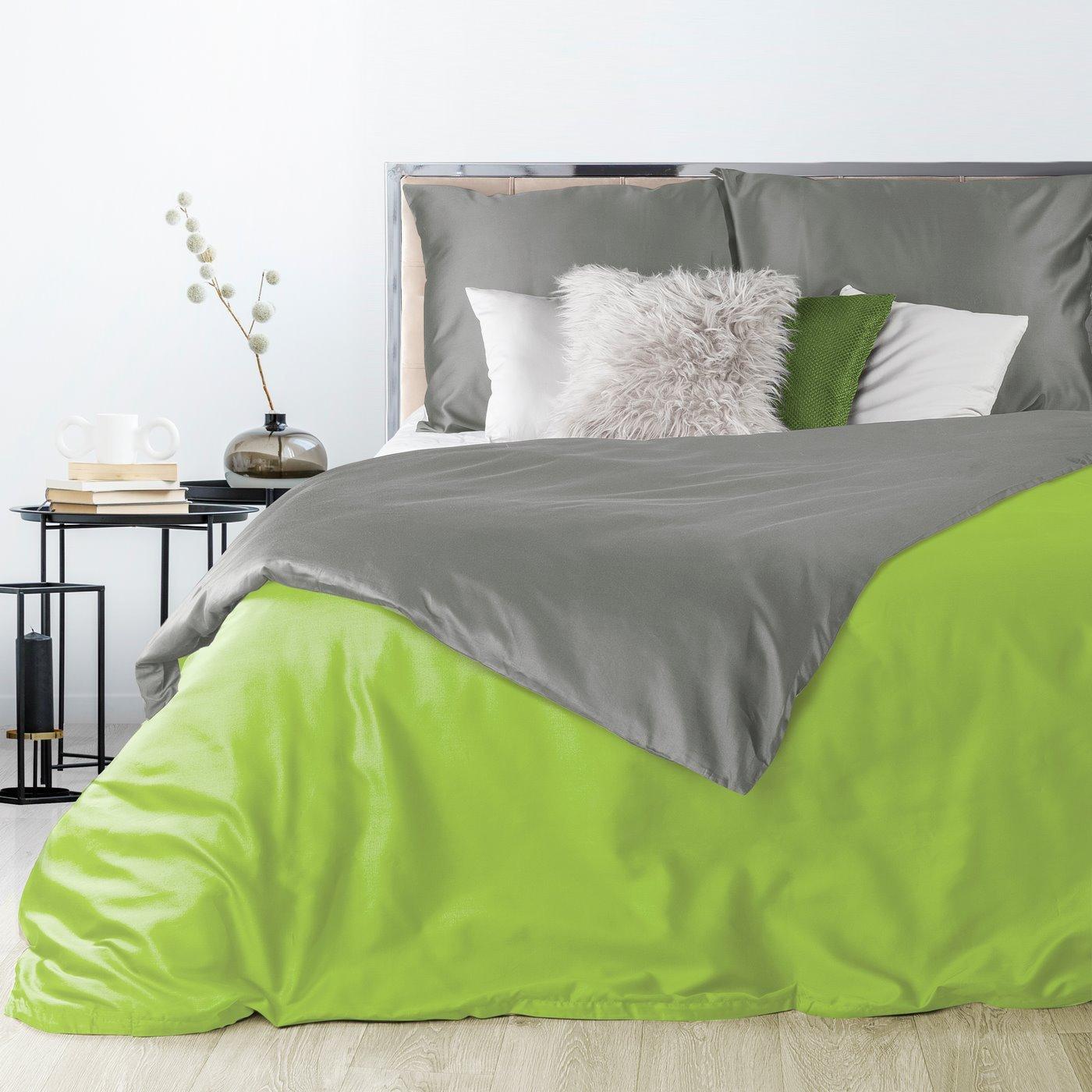 Komplet pościel z makosatyny 160 x 200 cm, 2 szt. 70 x 80 cm dwustronny zielono-stalowy