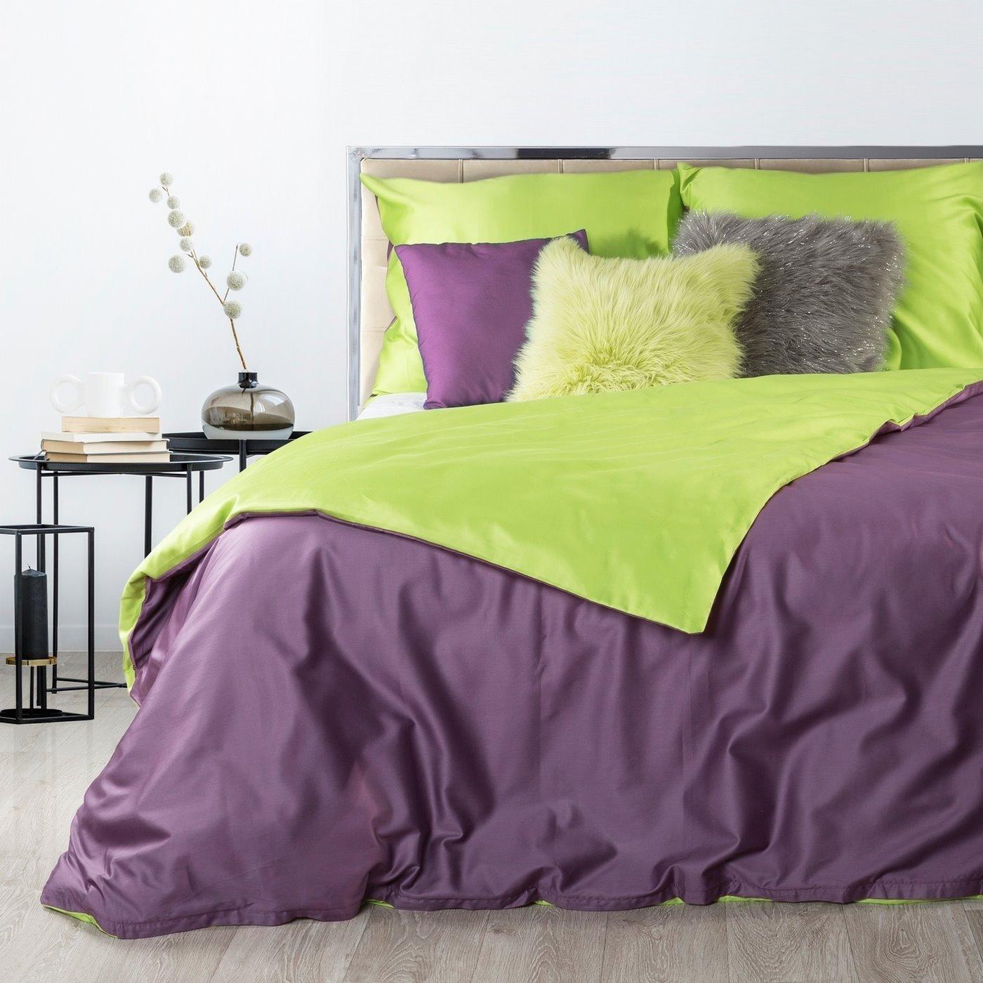 Komplet pościel z makosatyny 160 x 200 cm, 2 szt. 70 x 80 cm dwustronny fioletowo-zielony
