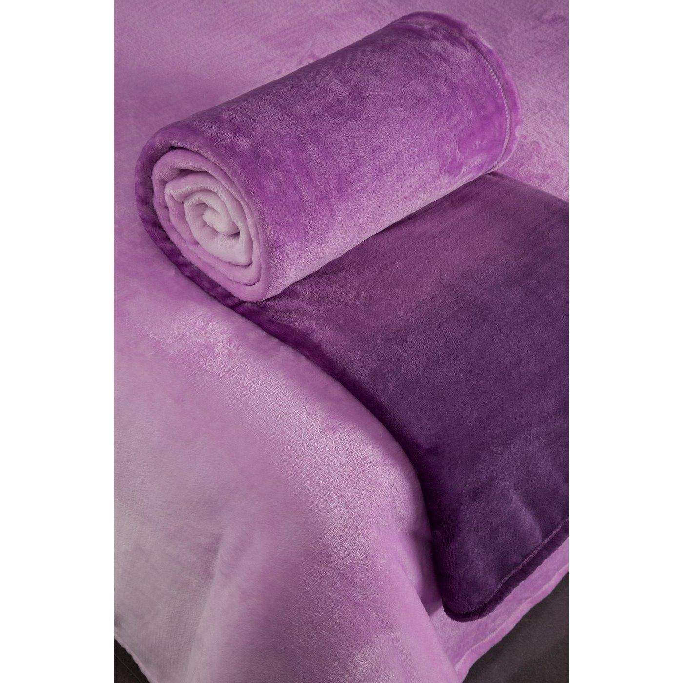 Cieniowany fioletowy miękki koc 150x200