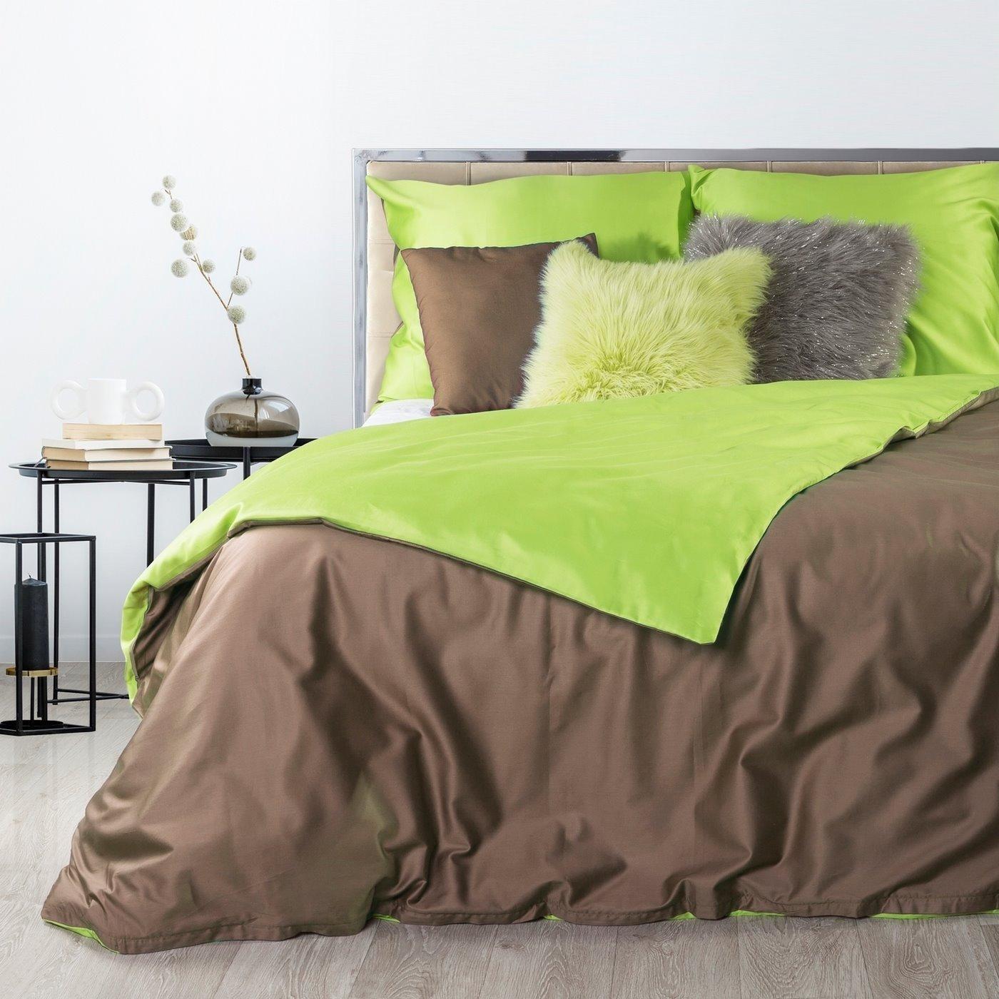 Komplet pościel z makosatyny 160 x 200 cm, 2 szt. 70 x 80 cm dwustronny brązowo-zielony