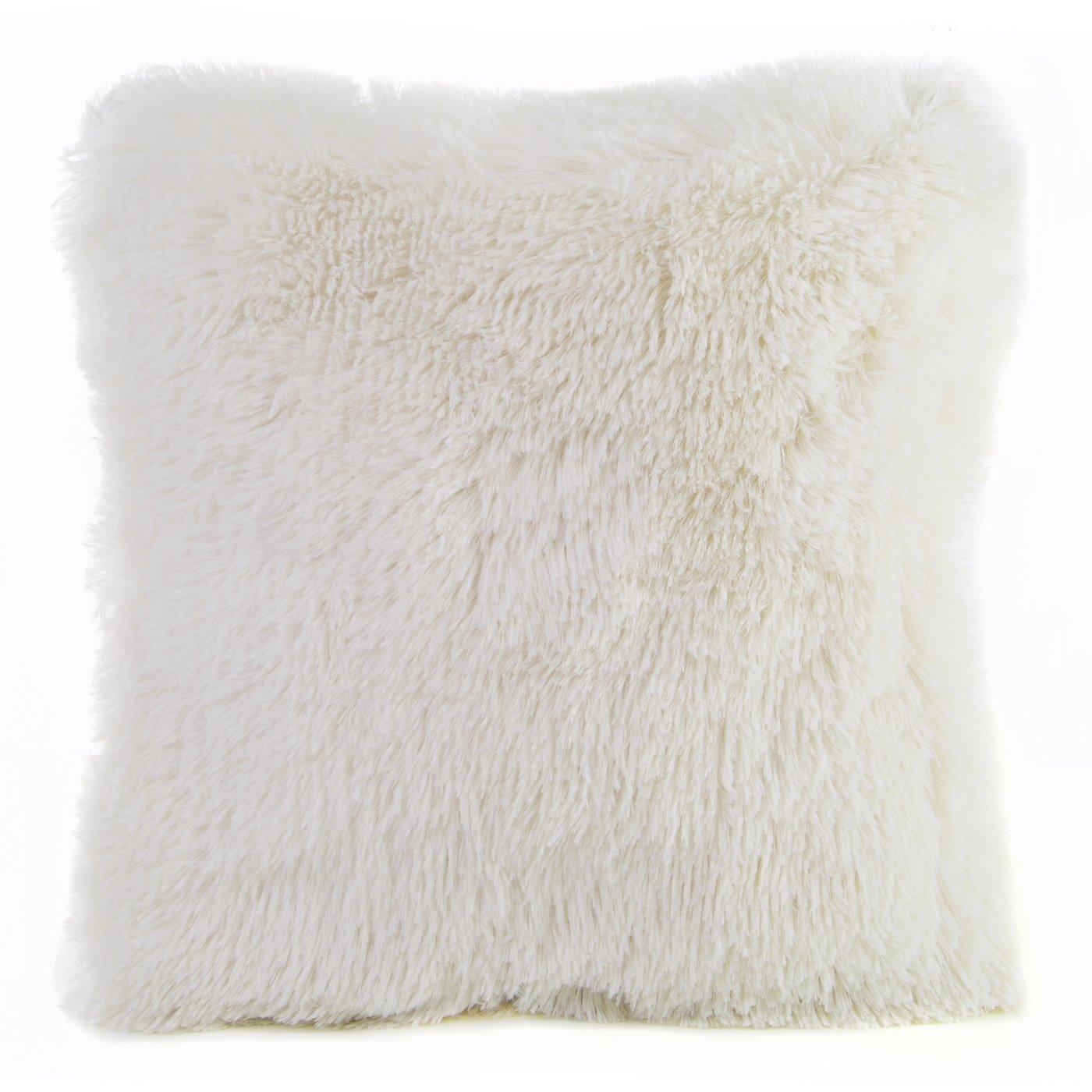 Poszewka na poduszkę 40 x 40 cm kremowa futerko