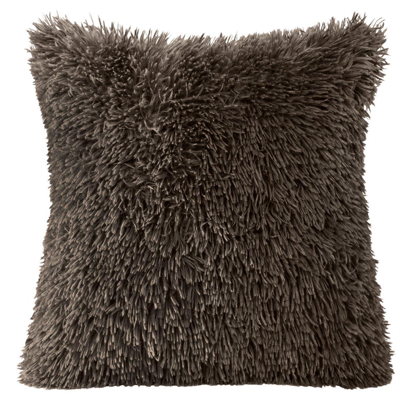 Poszewka na poduszkę 40 x 40 cm czarna futerko