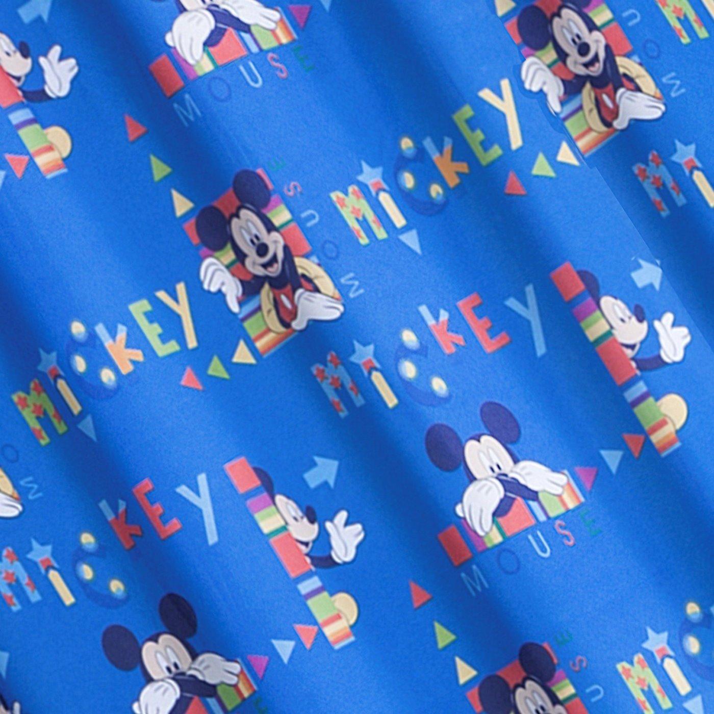 Niebieska zasłona dziecięca motyw myszki mickey 140x245 przelotki