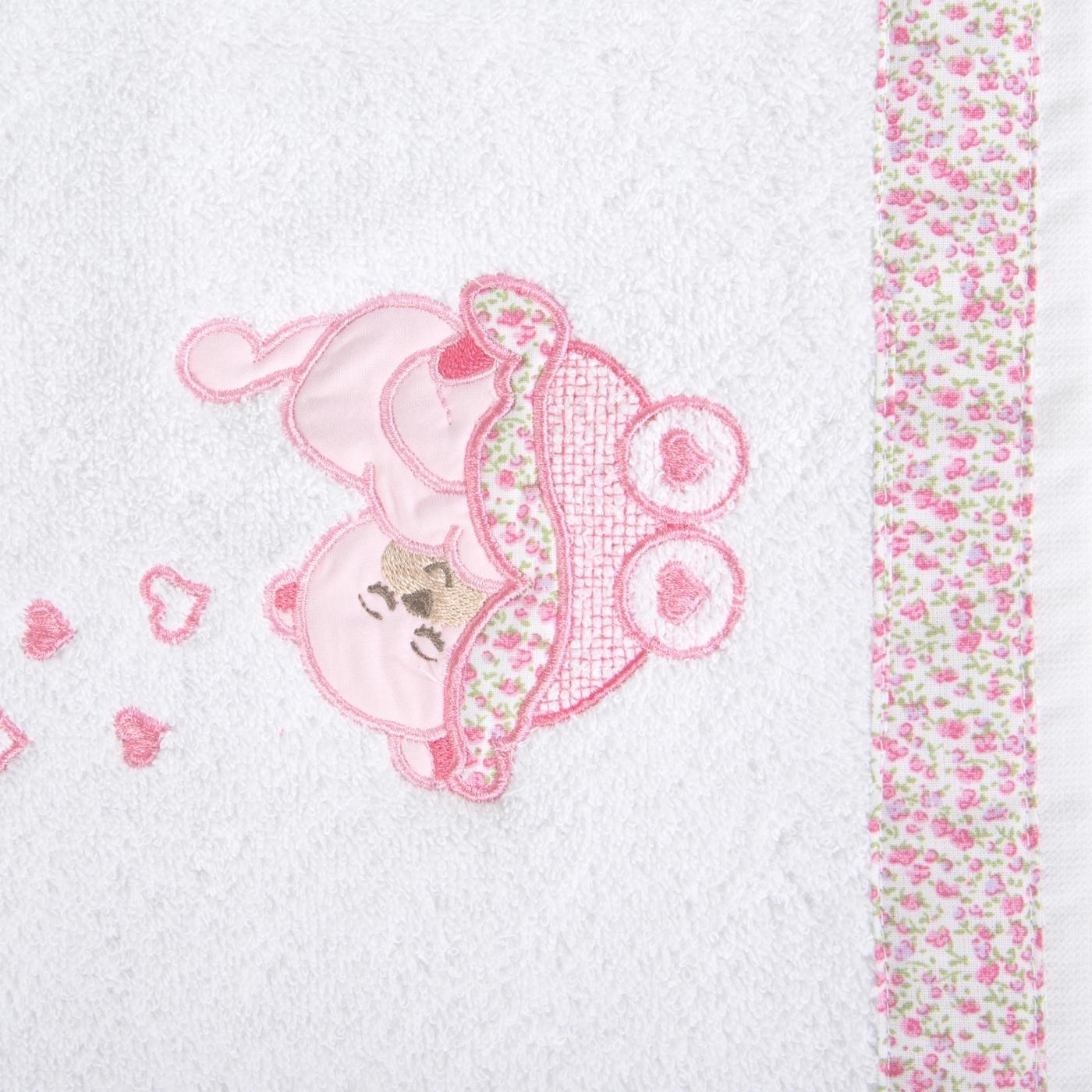 Ręcznik dziecięcy z aplikacją z aplikacją z różowym słonikiem 50x90cm