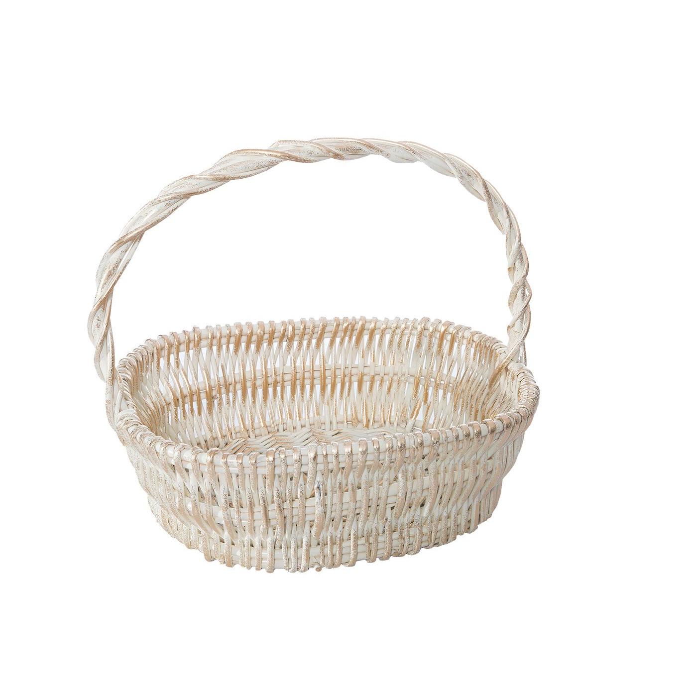 Koszyk z naturalnej wikliny 46 x 35 x 15 cm biało-złoty