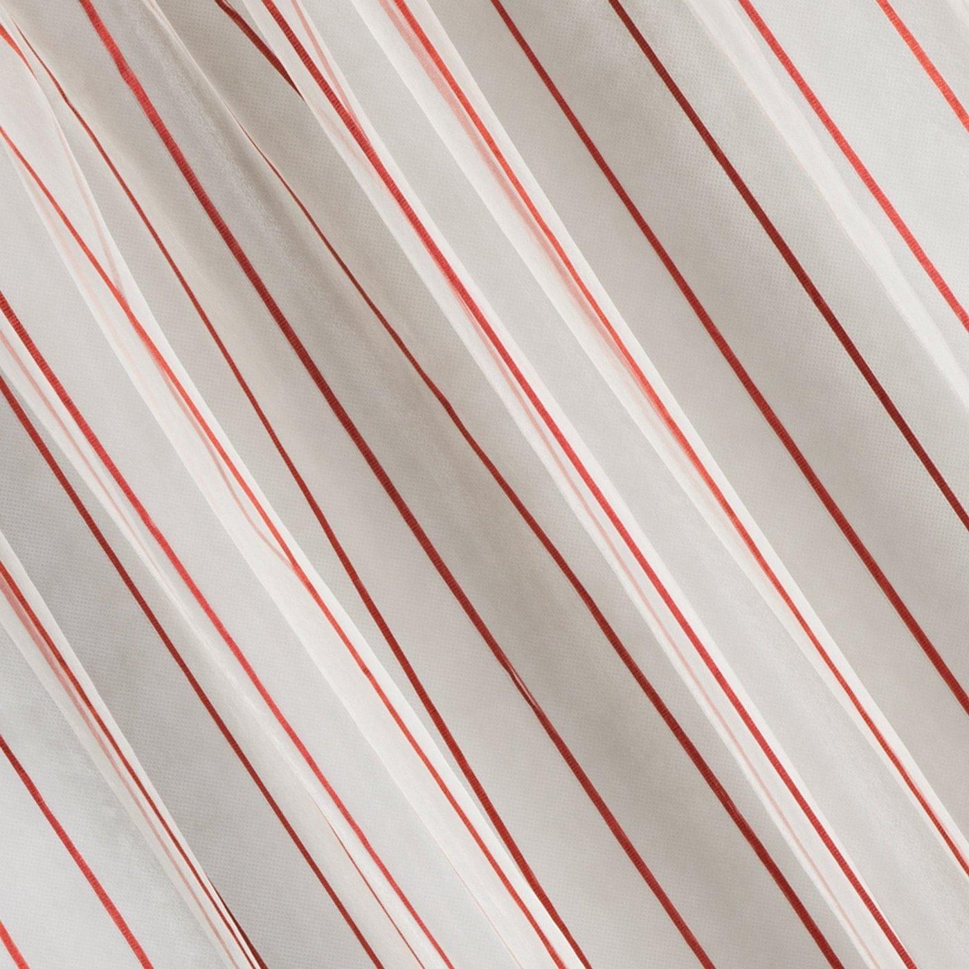 Oryginalna kremowa zasłona w czerwone prążki na taśmie 140x250 cm
