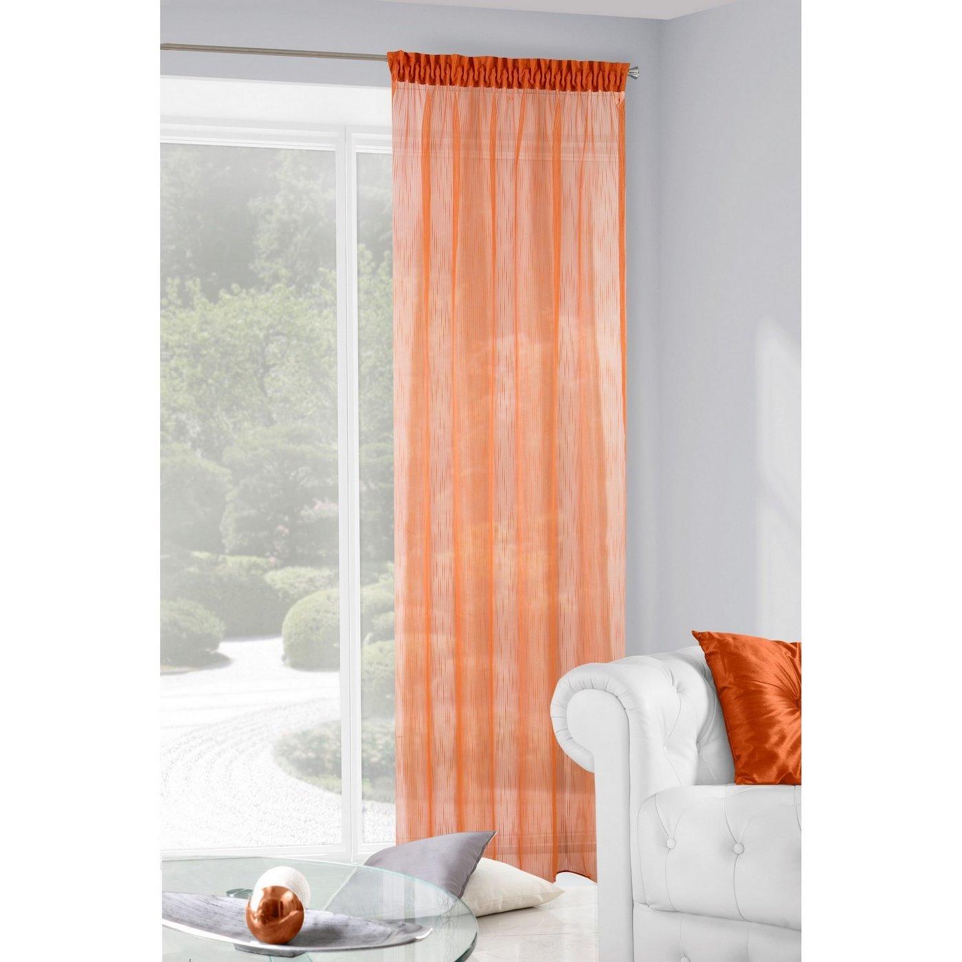Subtelna zasłona do salonu gładka pomarańczowa na taśmie 140x250cm