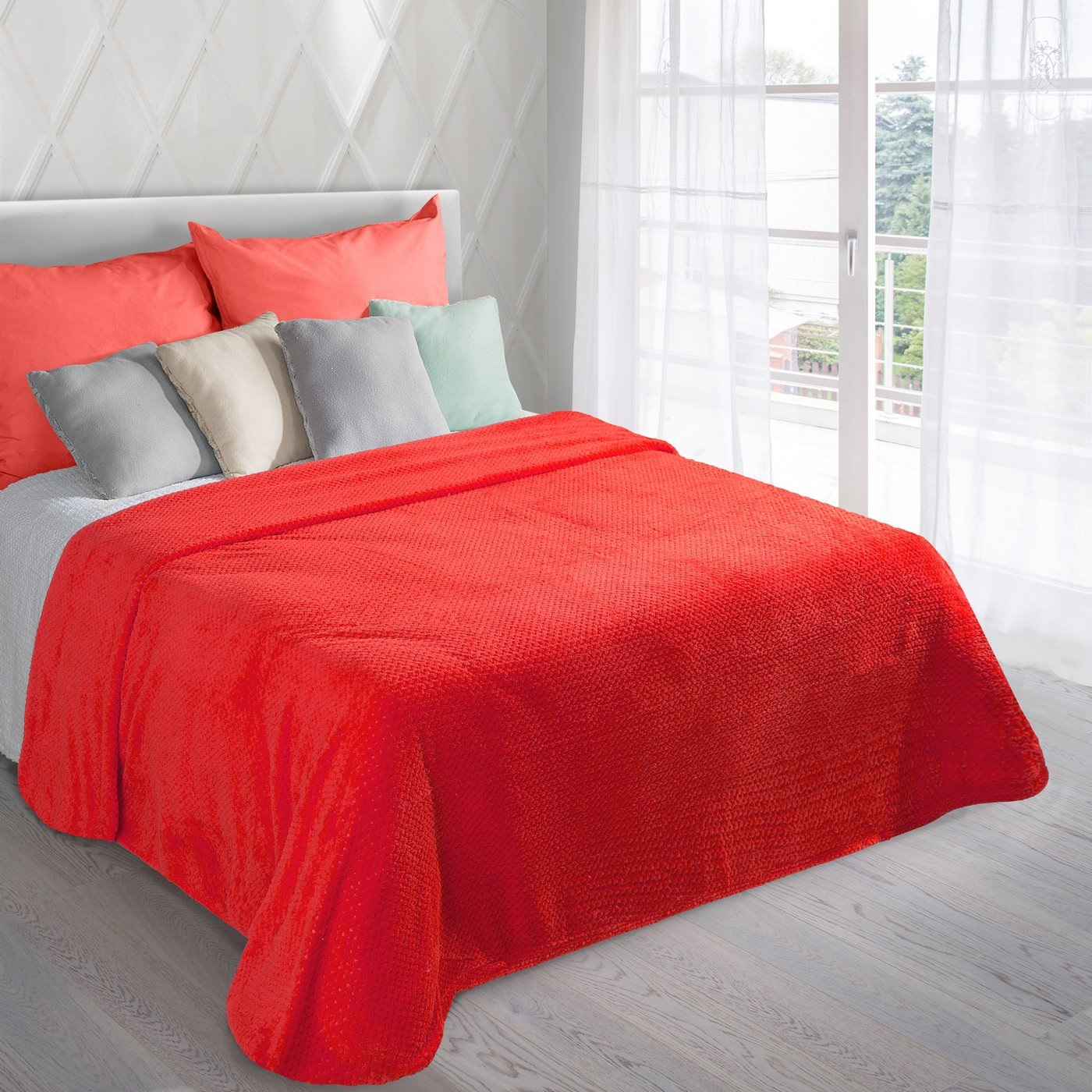 Koc miękki i puszysty jednokolorowy czerwony 170x210 cm