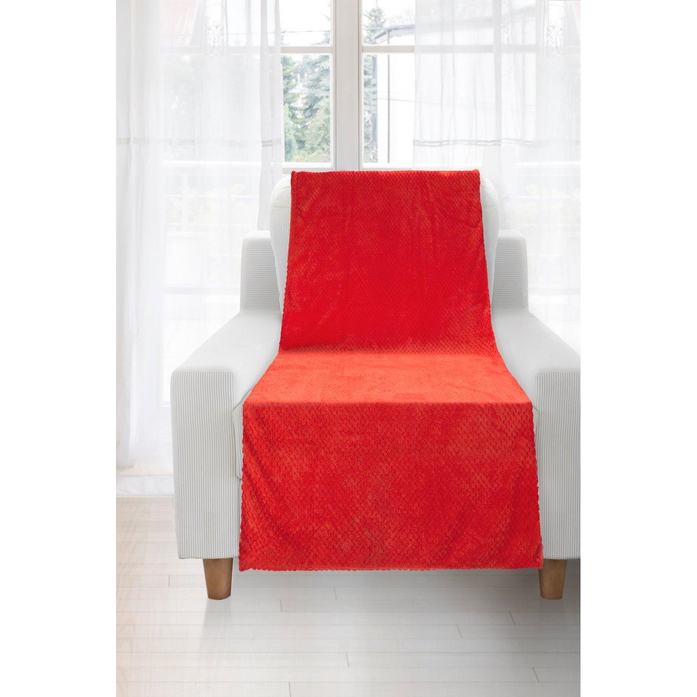 Koc miękki i puszysty jednokolorowy na fotel czerwony 70x140 cm