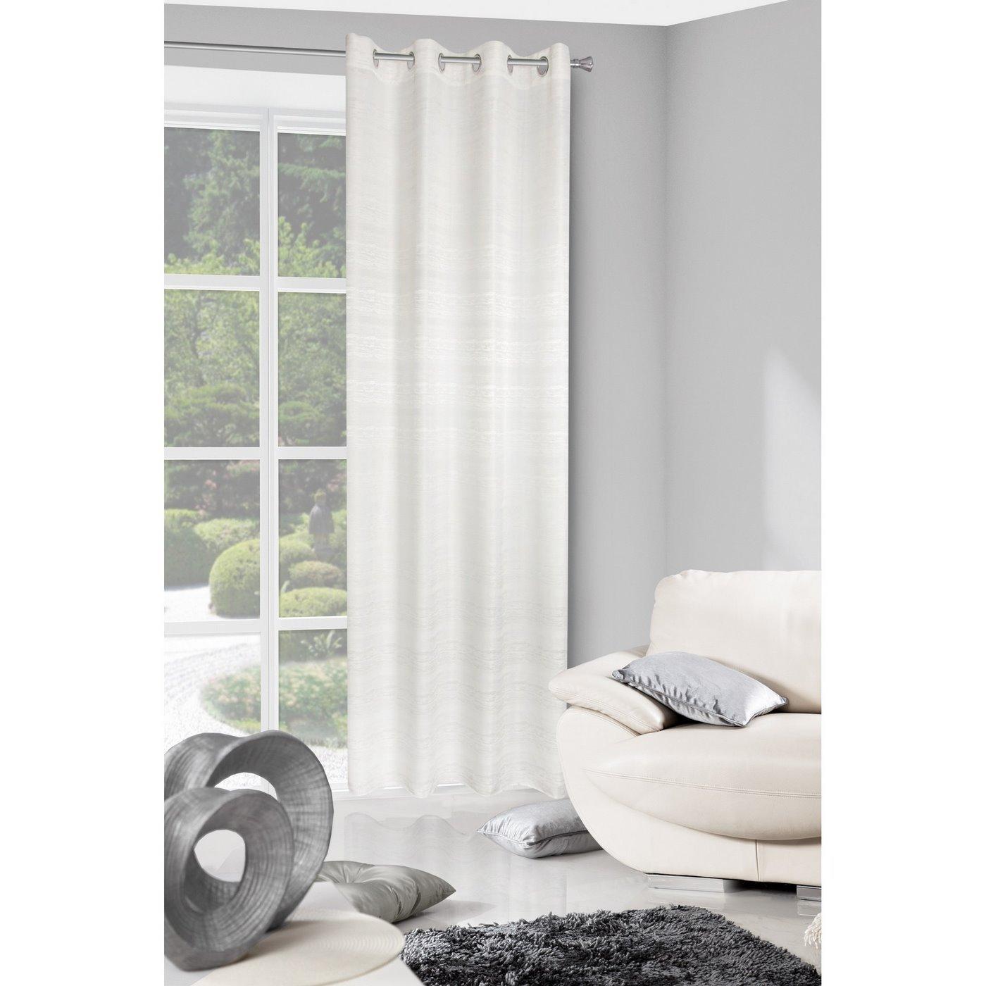 Zasłona biała styl skandynawski z połyskiem biała 140 X 250 cm PRZELOTKI
