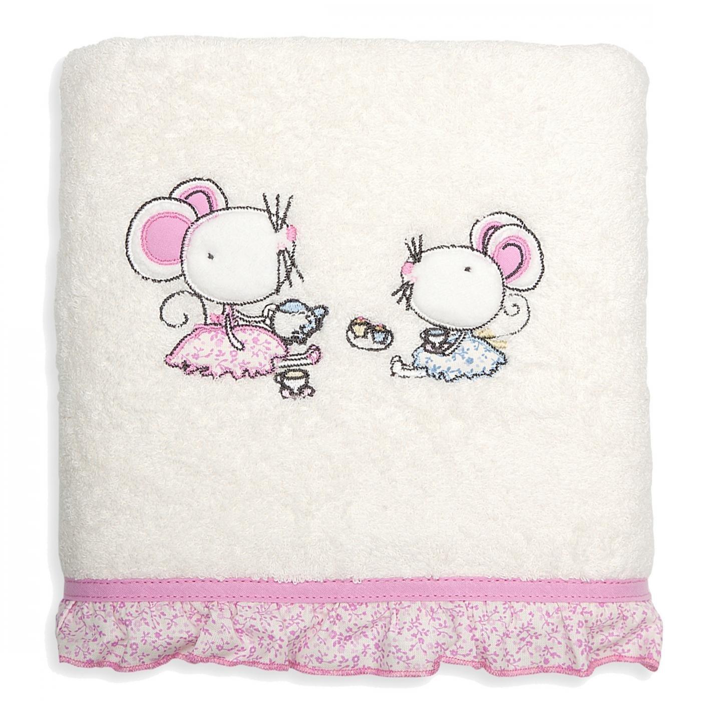 Ręcznik dziecięcy z aplikacją z myszkami i falbanką 70x140cm