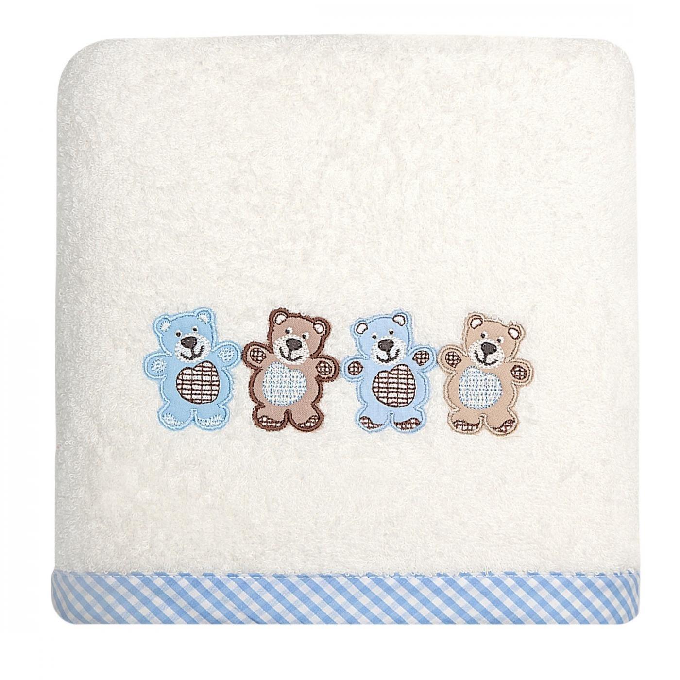 Dziecięcy ręcznik kąpielowy z falbanką misie niebieskie 50x90 cm