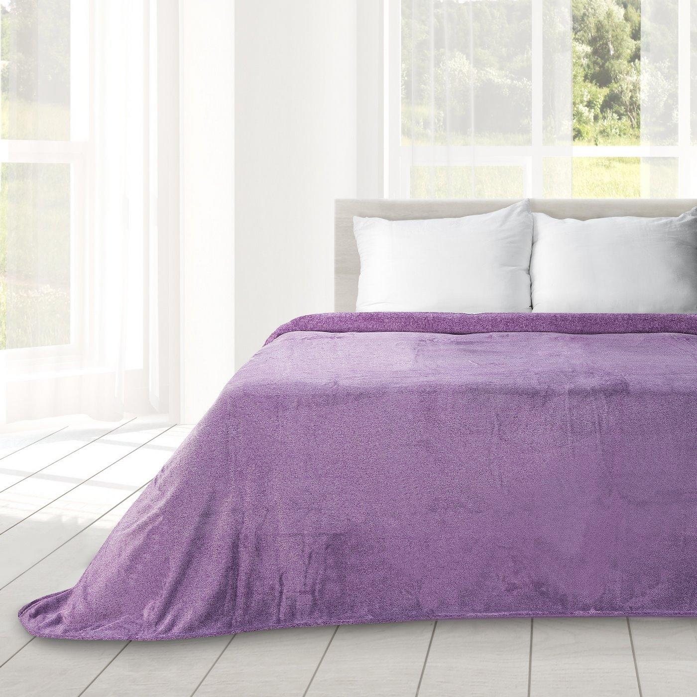 Koc miękki fioletowy gładki 170 x 210 cm