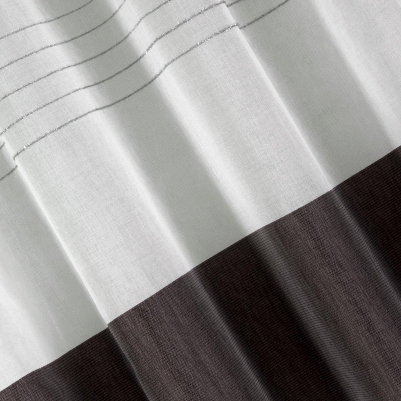 Zasłona biała z ciemnym pasem przelotki 140x250cm