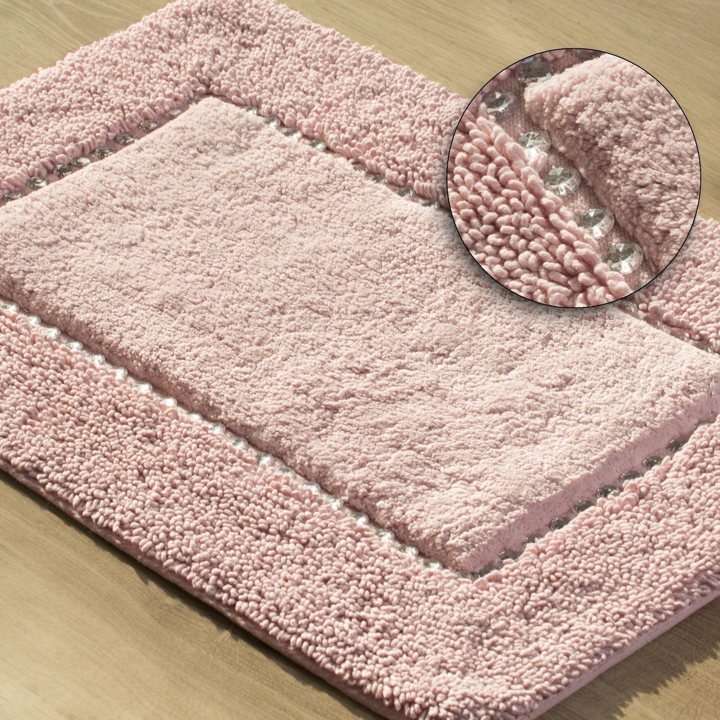 Miękki dywanik łazienkowy z kryształami różowy 75x150cm
