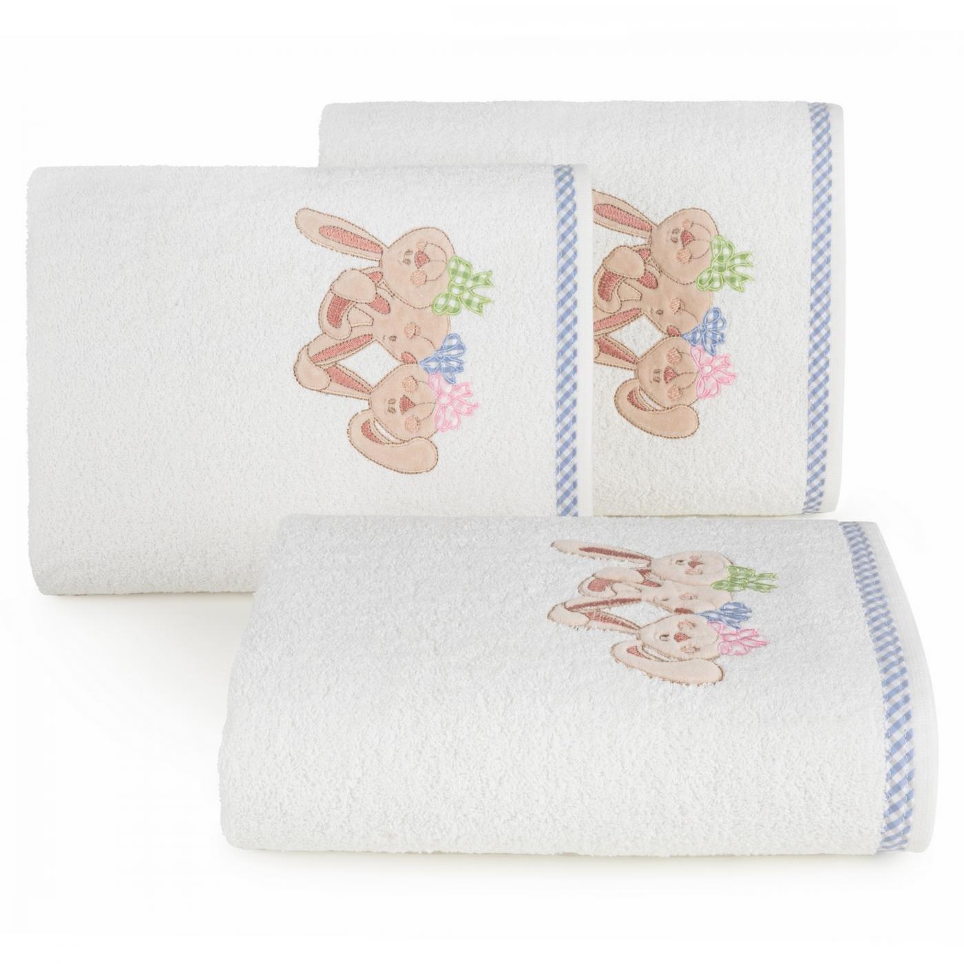 Dziecięcy ręcznik z króliczkami niebieski 50x90 cm