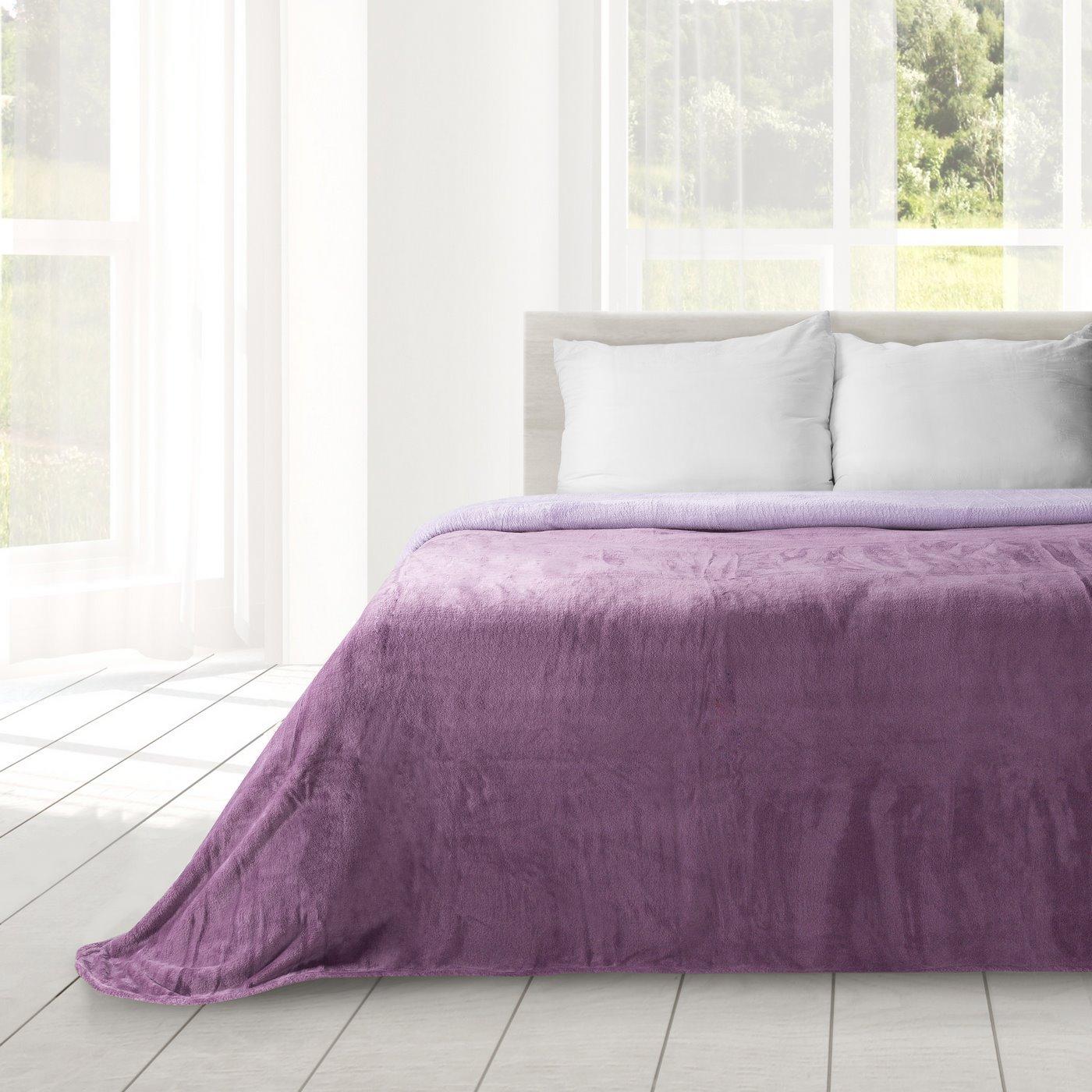 Miękki i puszysty koc dwustronny fioletowo-liliowy 170x210cm