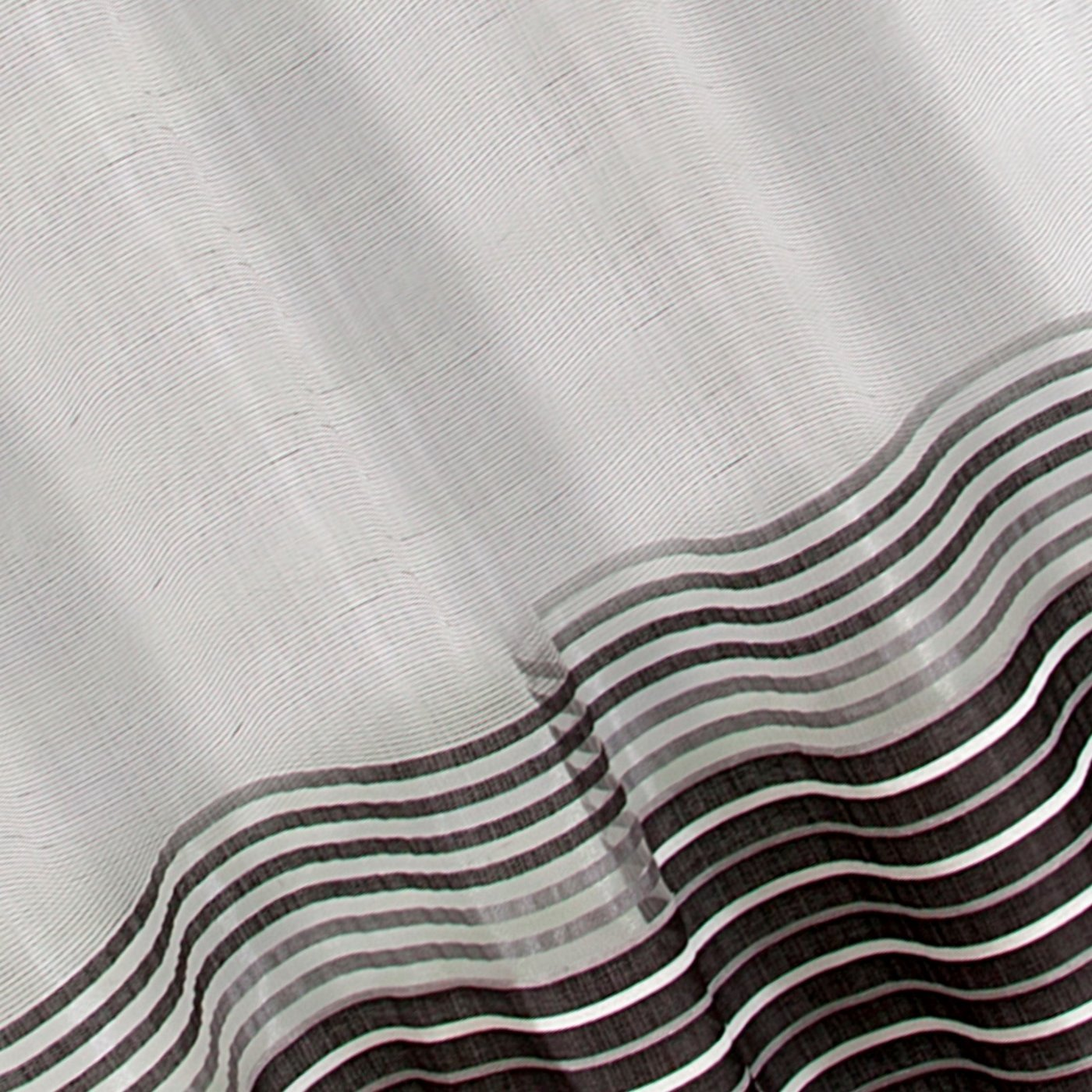 Zasłona z atłasowymi pasami biały+czarny przelotki 140x250cm