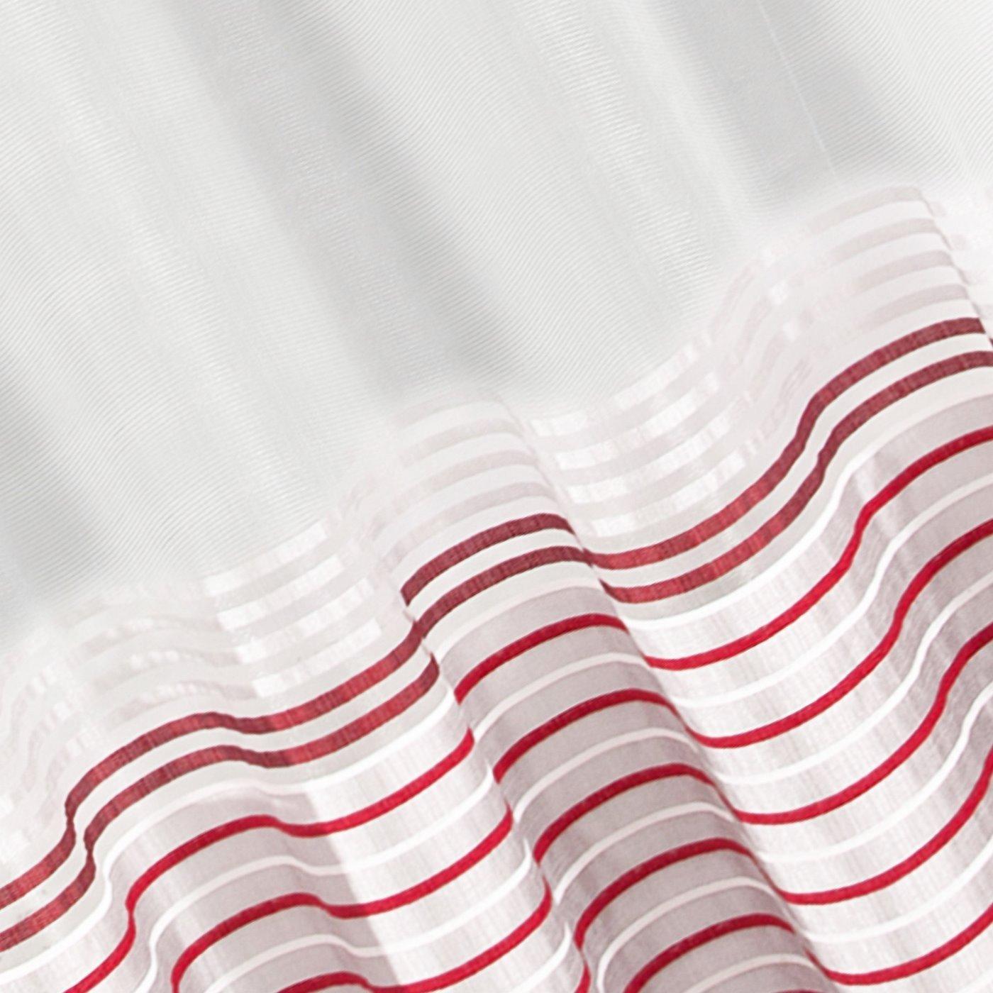 Zasłona z atłasowymi pasami srebrny+czerwony przelotki 140x250cm