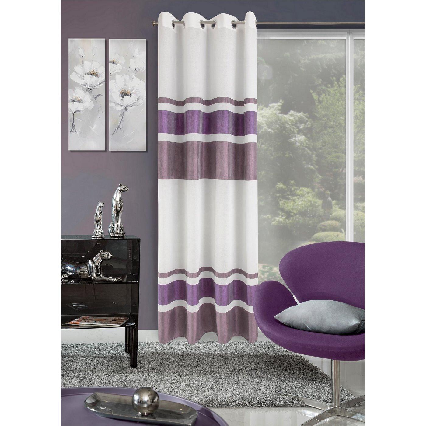 Zasłona poziome pasy nowoczesny wzór biały+fiolet przelotki 140x250cm
