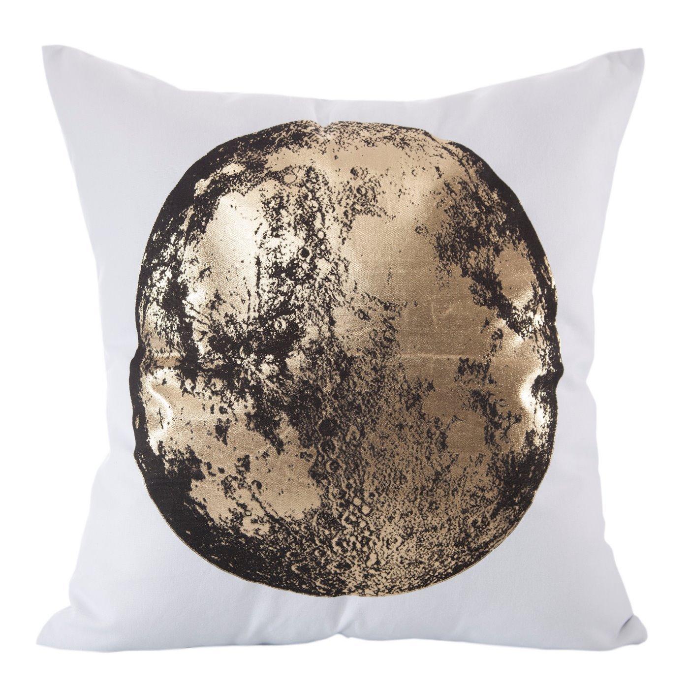 Poszewka czarno-złoty nadruk księżyc 45 x 45 cm