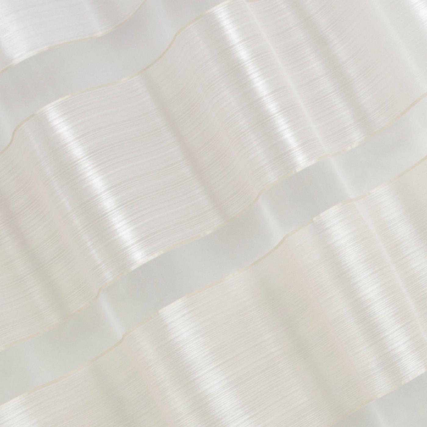 Zasłona poziome atłasowe pasy+organza biały+kremowy przelotki 140x250cm